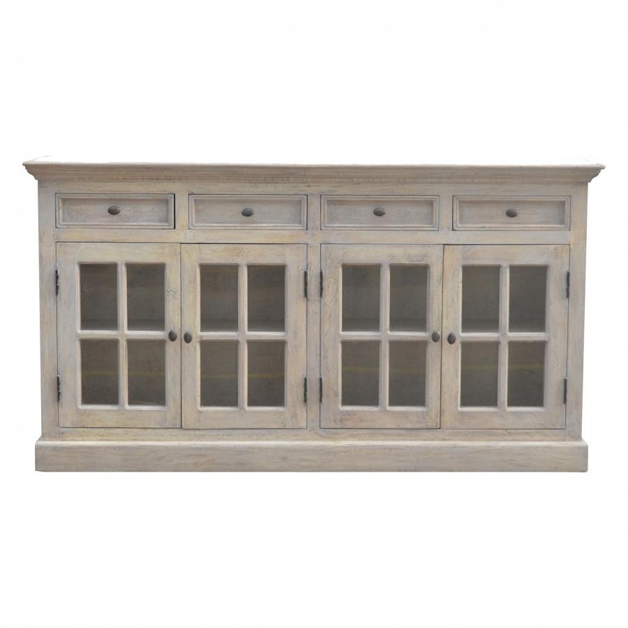 Artisan – Solid Mango Wood 4 Door 4 Drawer Stone Acid Wash Glazed Regarding Mango Wood Grey 4 Drawer 4 Door Sideboards (View 5 of 30)