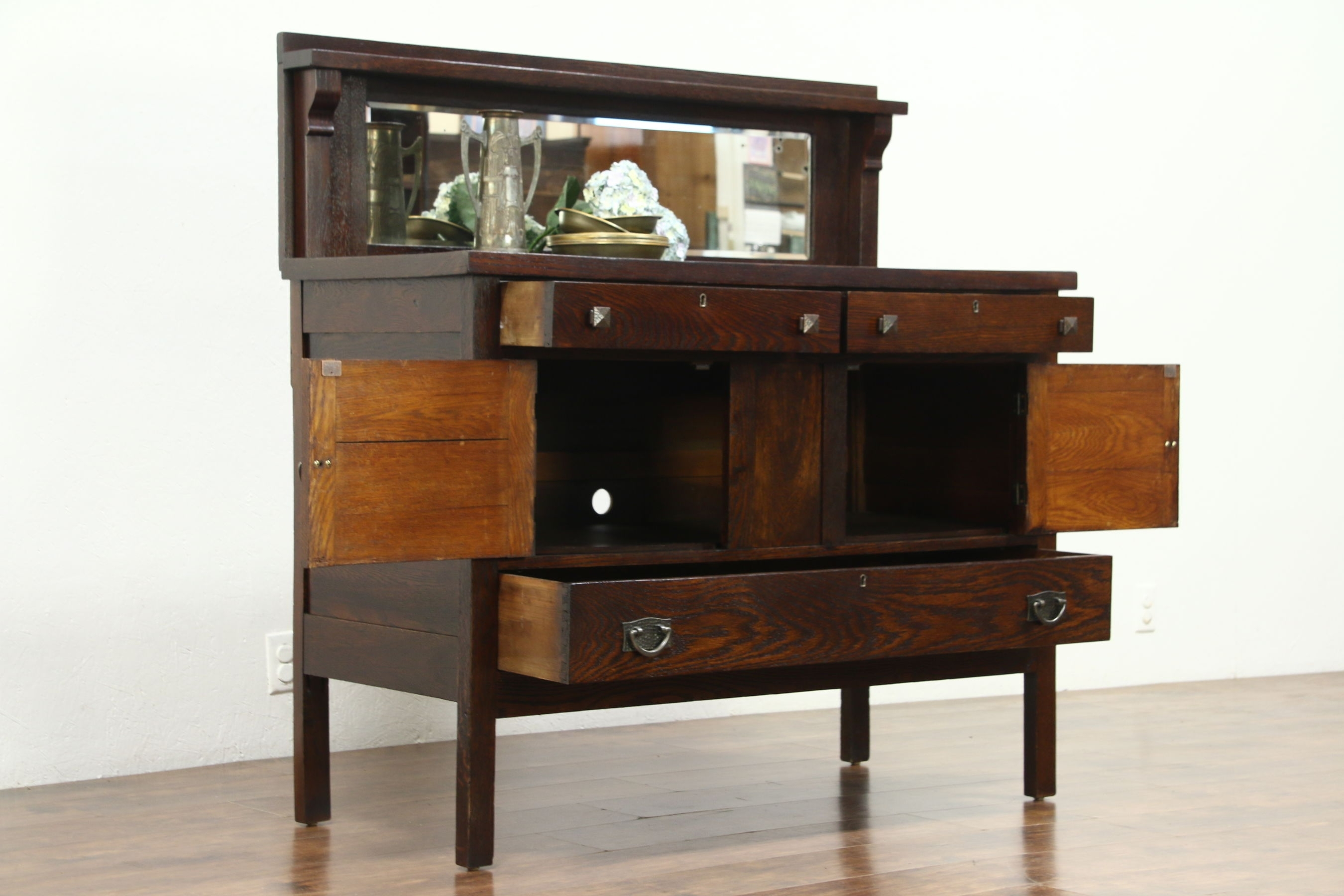 Arts & Crafts Mission Oak Antique Craftsman Sideboard, Server for Craftsman Sideboards (Image 2 of 30)