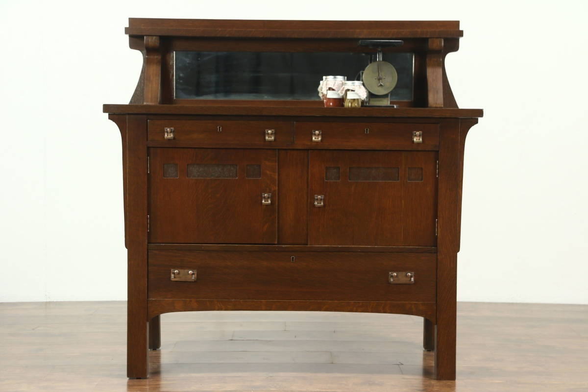 Arts & Crafts Mission Oak Antique Sideboard Server Or Craftsman throughout Craftsman Sideboards (Image 4 of 30)