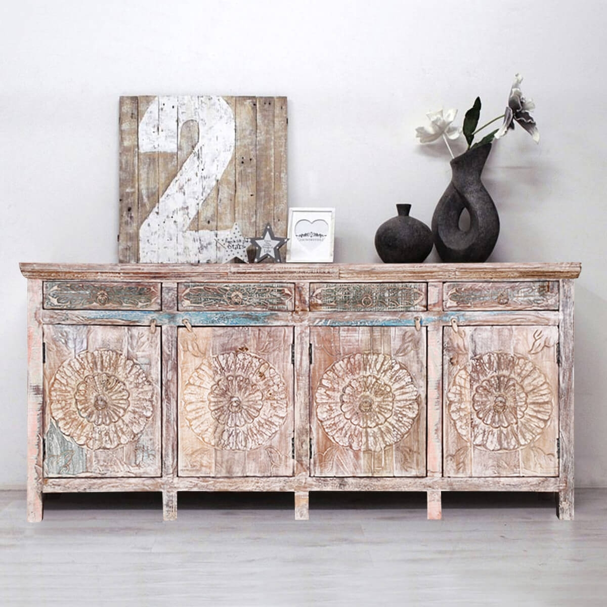 Arvada Primitive Rustic Reclaimed Wood 4 Drawer Large Sideboard Within Carved 4 Door Metal Frame Sideboards (View 10 of 30)