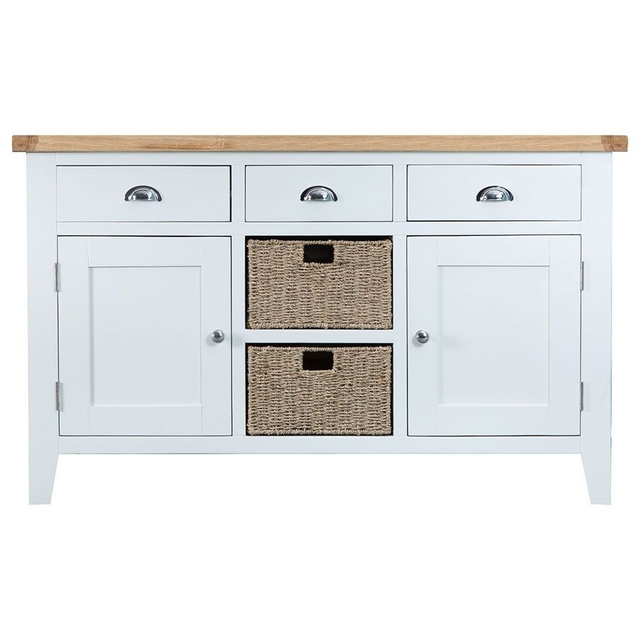 Ashdale White Large Sideboard in Corrugated White Wash Sideboards (Image 1 of 30)