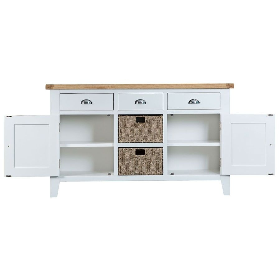 Ashdale White Large Sideboard with Corrugated Natural 6-Door Sideboards (Image 2 of 30)
