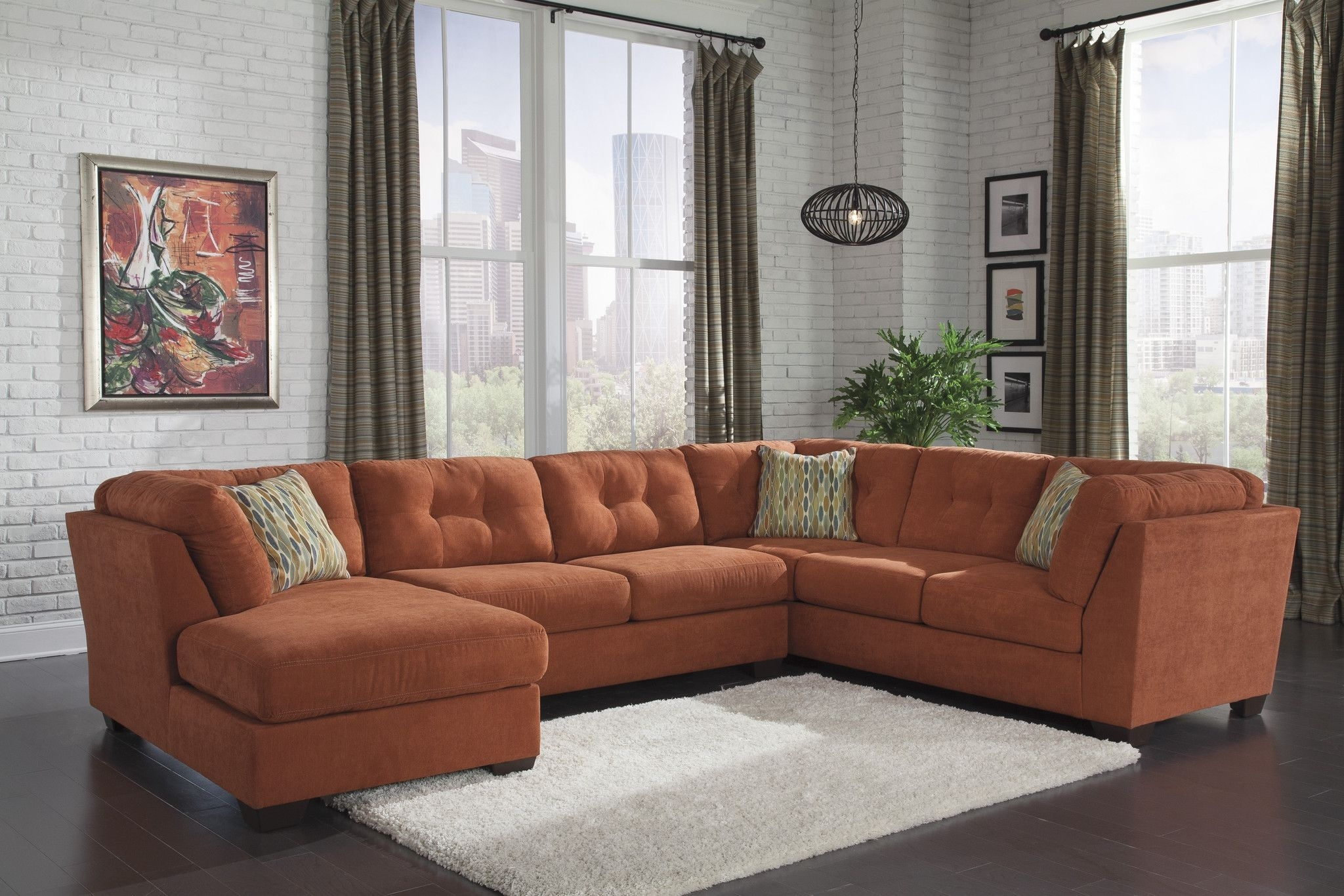 Ashley Furniture Delta City Orange Sectional Left 1970116+34+38 inside Turdur 3 Piece Sectionals With Raf Loveseat (Image 3 of 30)