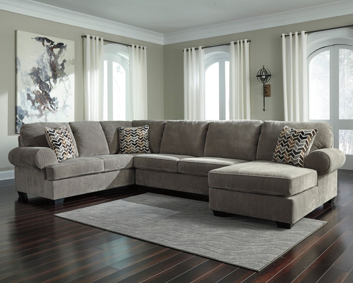 Ashley Furniture Jinllingsly 3 Piece Sectional With Raf Chaise In within Sierra Foam Ii 3 Piece Sectionals (Image 4 of 30)