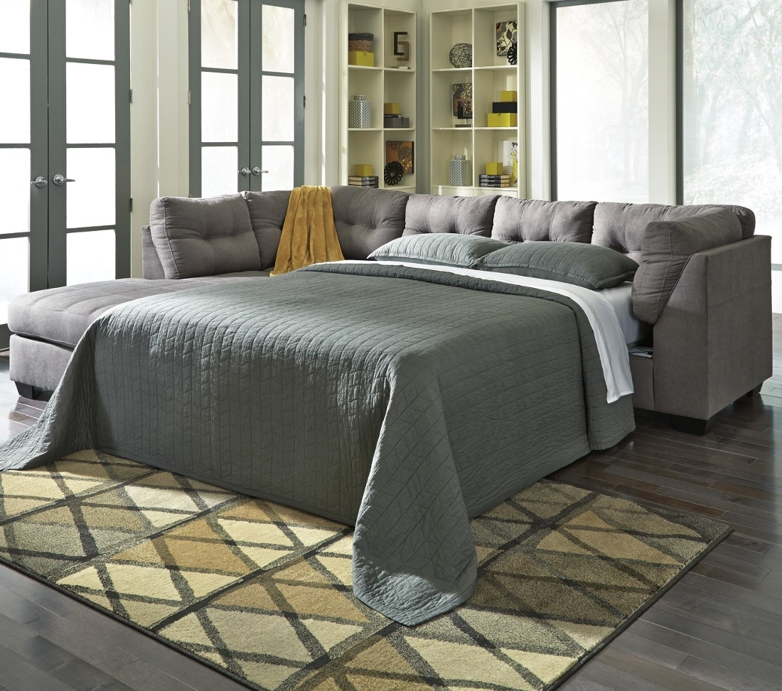 Ashley Furniture Maier 2 Piece Sleeper Sectional In Charcoal With intended for Aspen 2 Piece Sleeper Sectionals With Laf Chaise (Image 4 of 30)