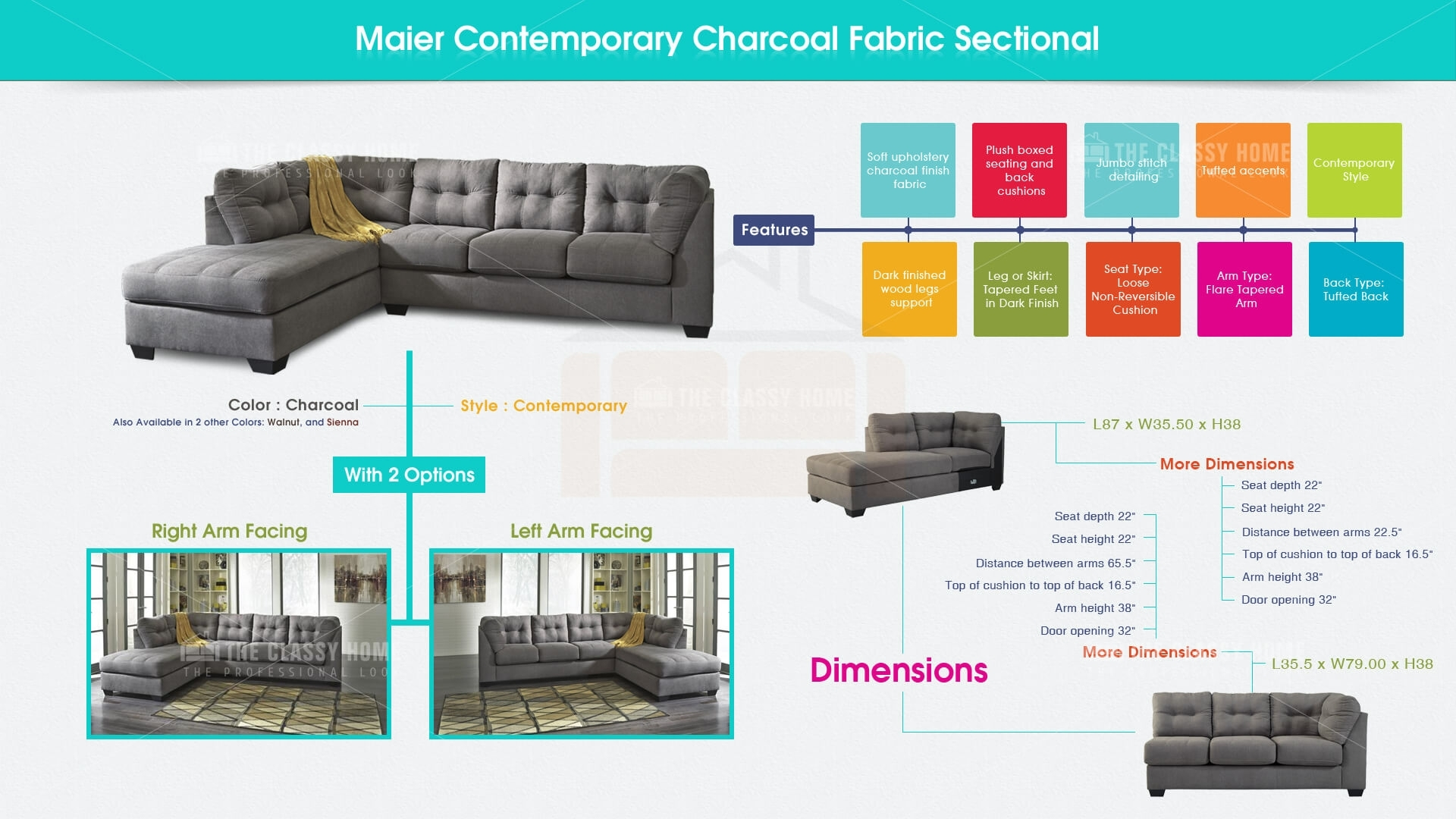 Ashley Furniture Maier Charcoal Raf Chaise Sectional | The Classy Home intended for Lucy Grey 2 Piece Sleeper Sectionals With Raf Chaise (Image 5 of 30)
