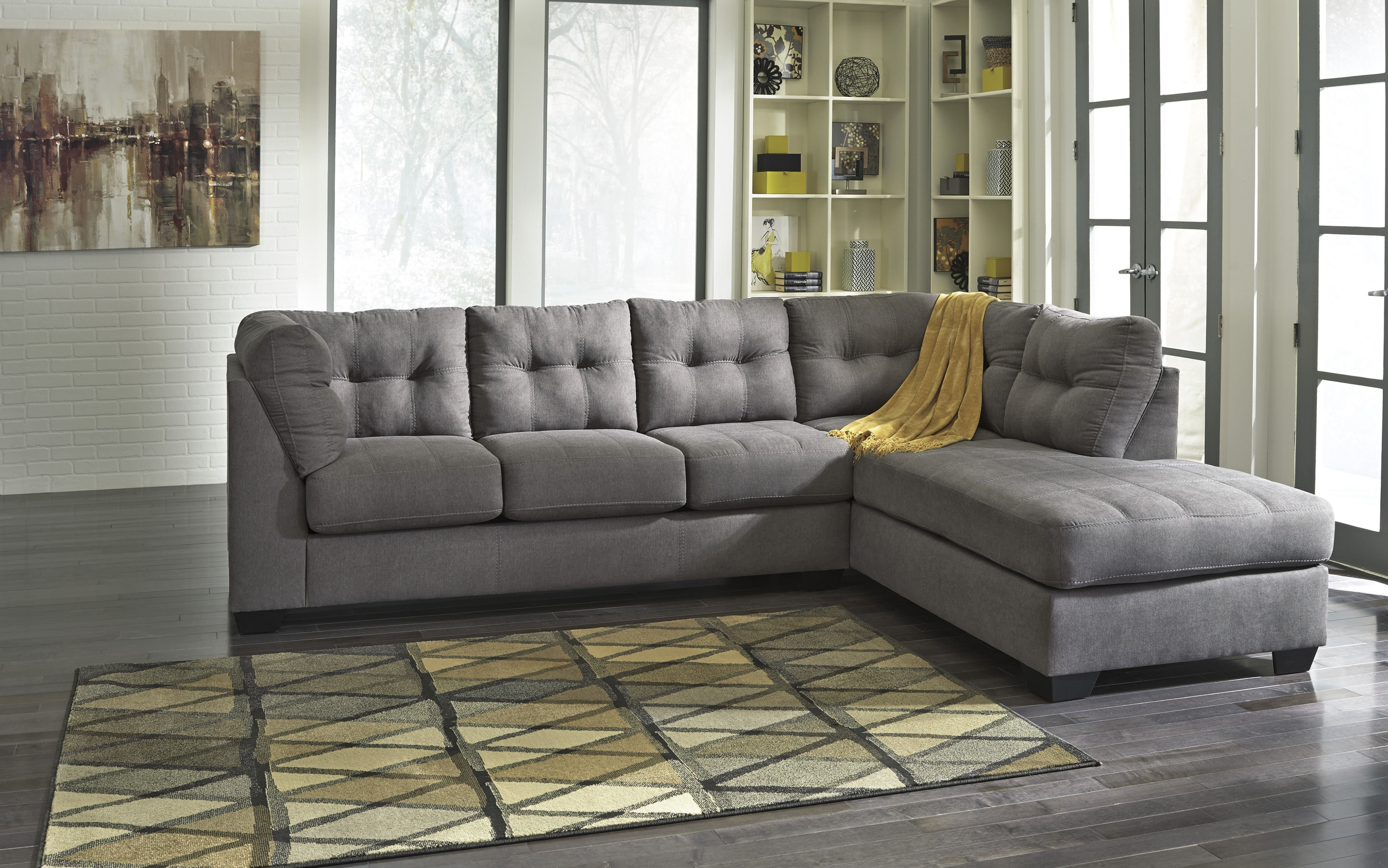 Ashley Furniture Maier Charcoal Raf Chaise Sectional | The Classy Home Throughout Collins Sofa Sectionals With Reversible Chaise (View 2 of 30)