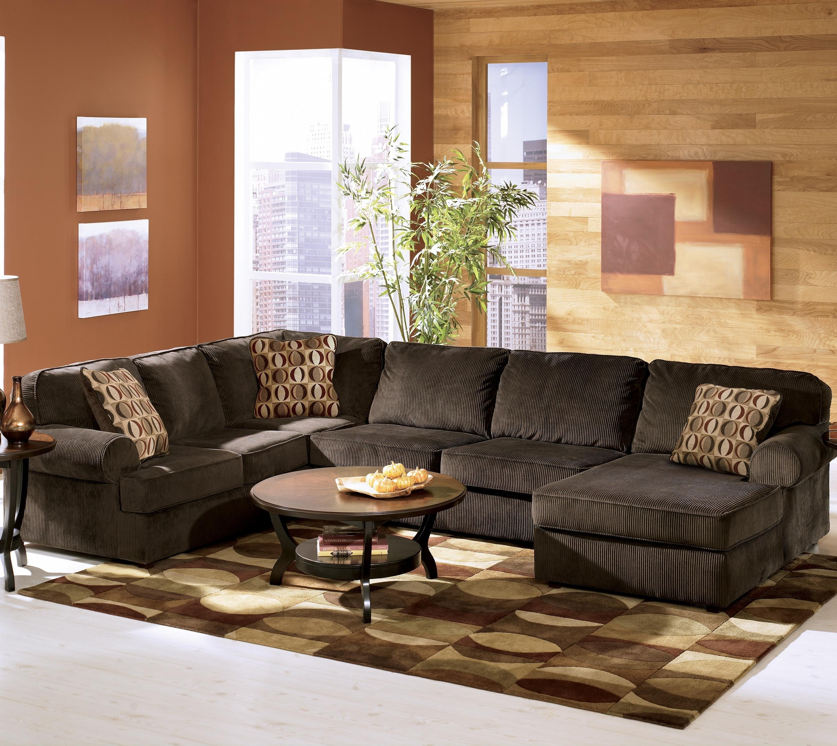 Ashley Furniture Vista - Chocolate Casual 3-Piece Sectional With with regard to Lucy Grey 2 Piece Sleeper Sectionals With Laf Chaise (Image 8 of 30)