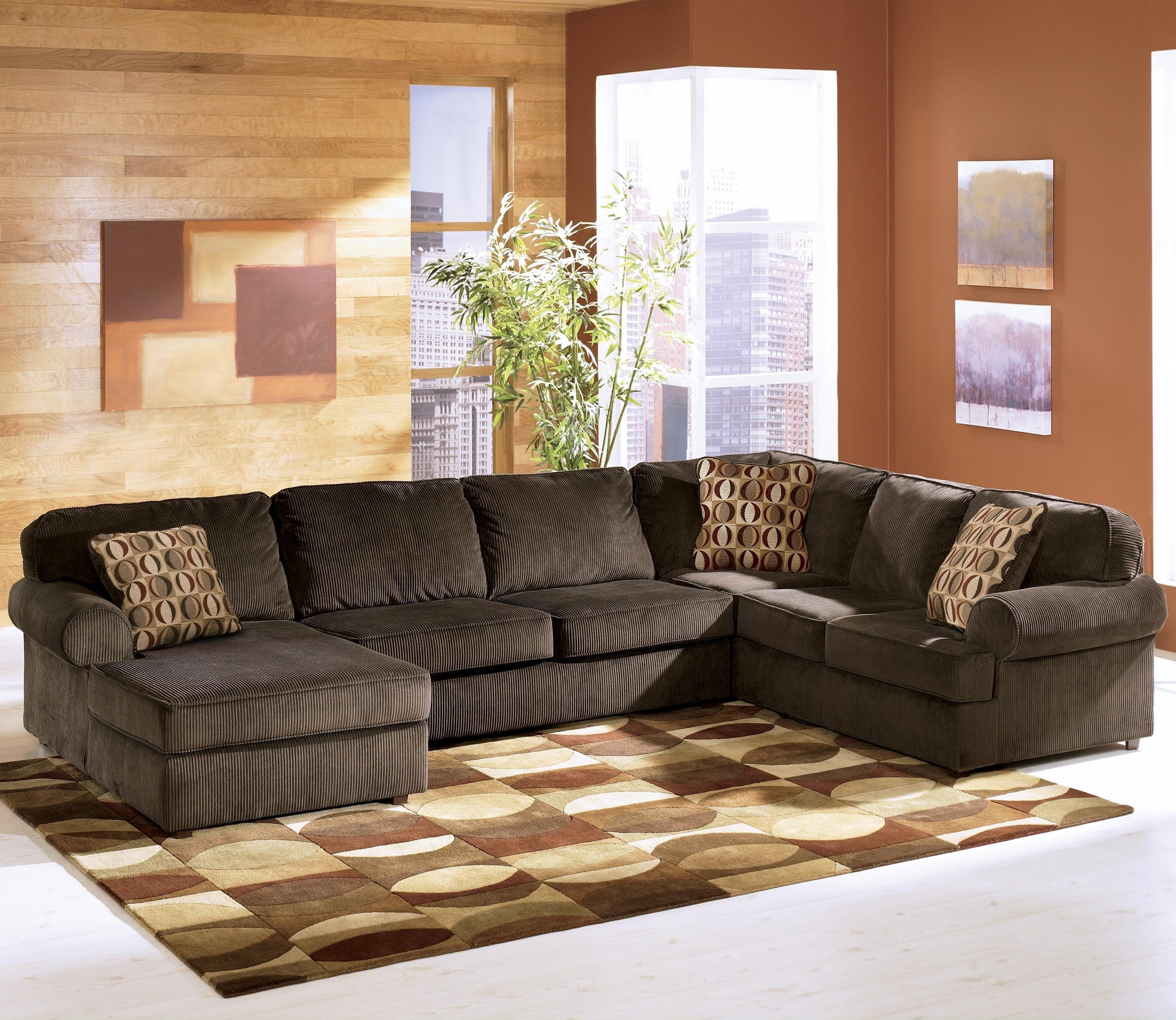 Ashley Furniture Vista - Chocolate Casual 3-Piece Sectional With within Gordon 3 Piece Sectionals With Raf Chaise (Image 5 of 30)