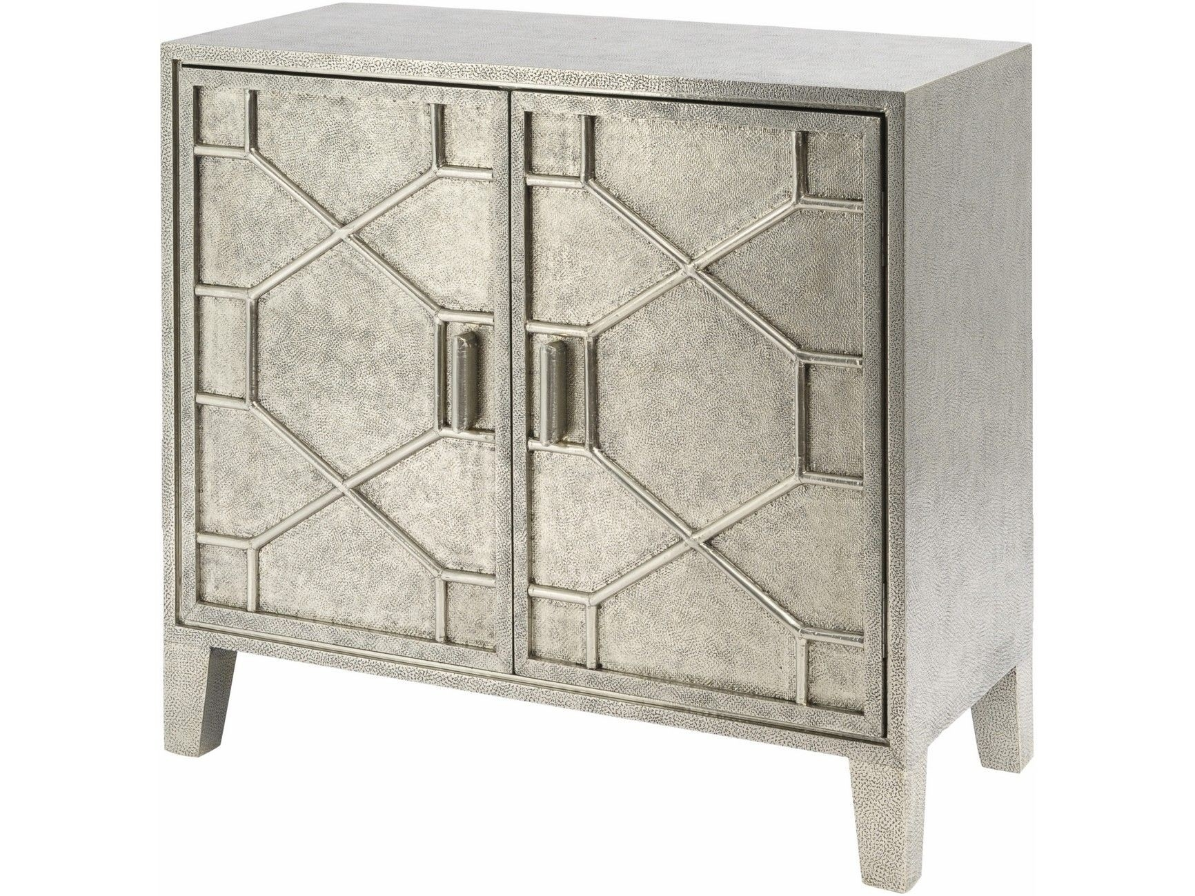 Astor Hand Embossed Metal 2 Door Cabinet | Metal Embossed Sideboards intended for Aged Mirrored 2 Door Sideboards (Image 6 of 30)