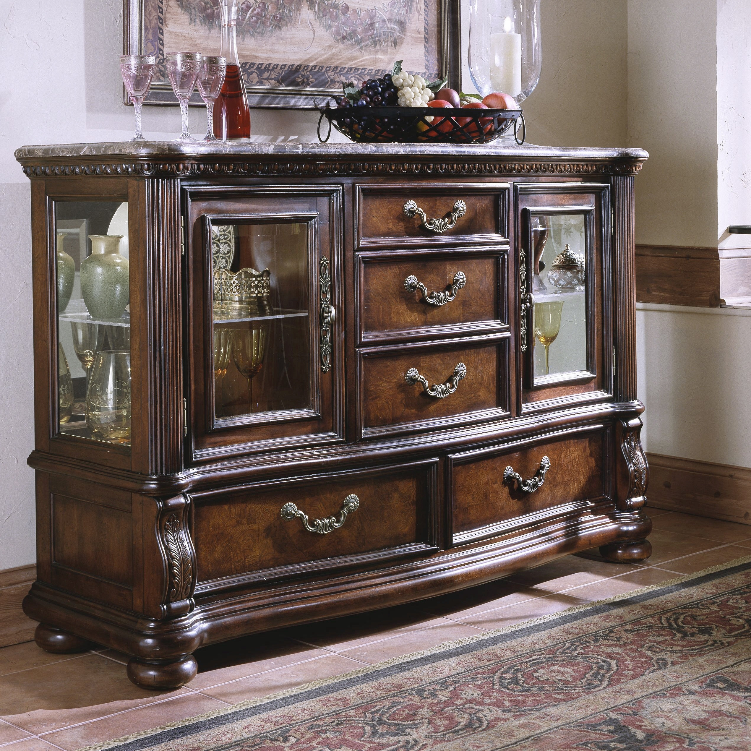 Astoria Grand Weinberger Sideboard & Reviews | Wayfair regarding Carved 4 Door Metal Frame Sideboards (Image 11 of 30)