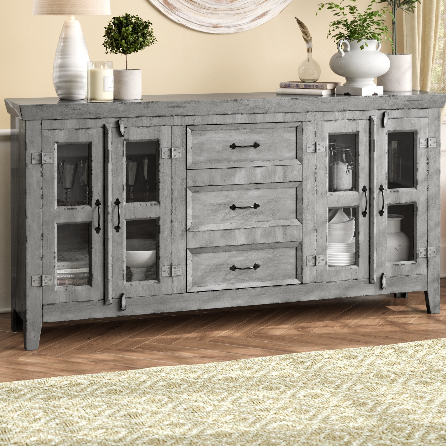 August Grove Fairy Sideboard & Reviews | Wayfair intended for 4-Door/4-Drawer Metal Inserts Sideboards (Image 2 of 30)