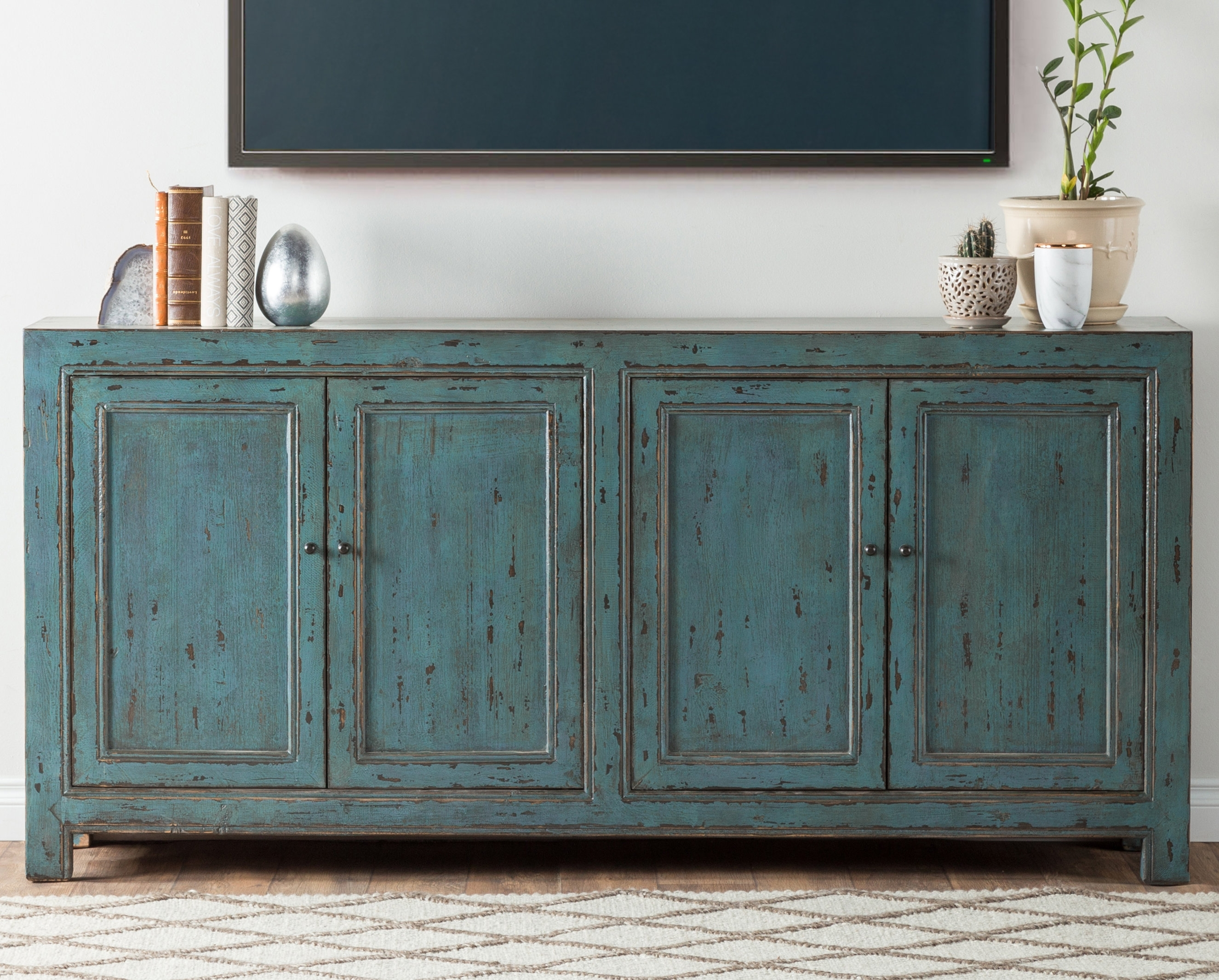 August Grove Mahoning Reclaimed Pine 4 Door Sideboard & Reviews regarding Aged Mirrored 4 Door Sideboards (Image 7 of 30)