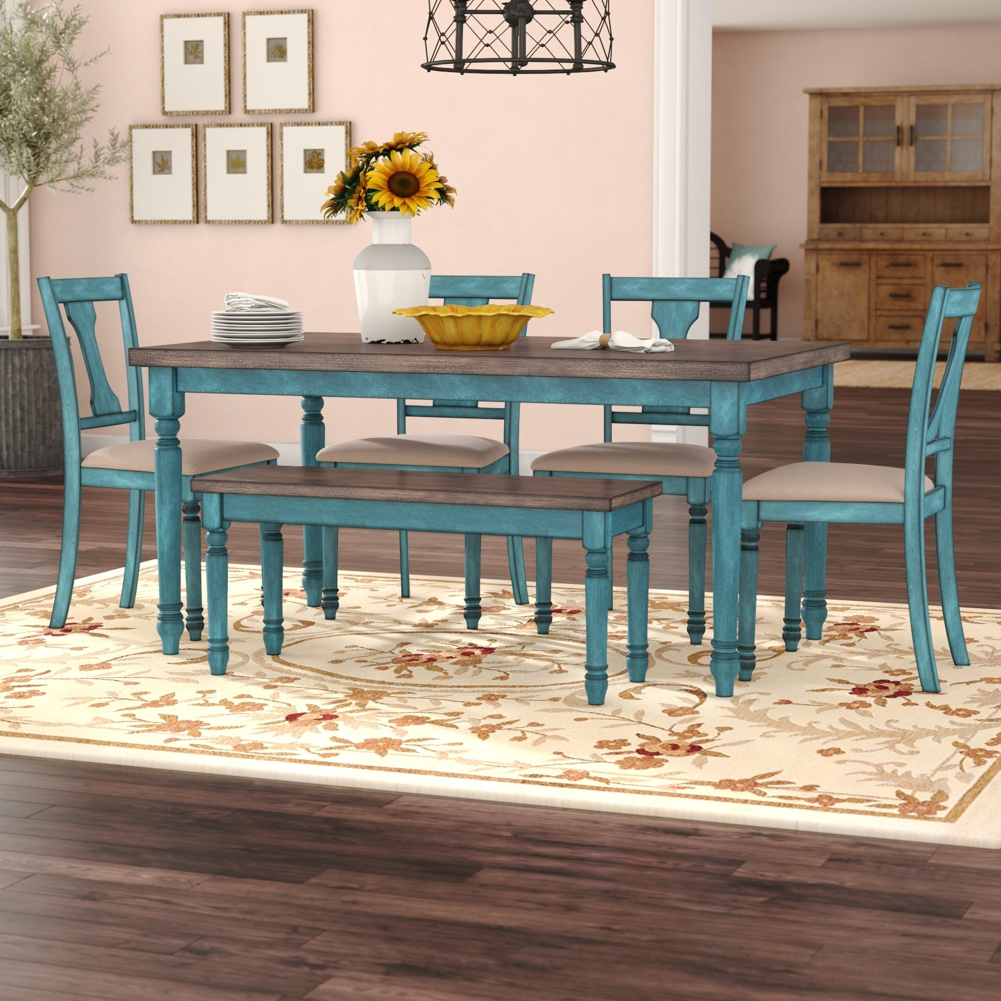 August Grove Scarlet 6 Piece Dining Set & Reviews | Wayfair within Marbled Axton Sideboards (Image 7 of 26)