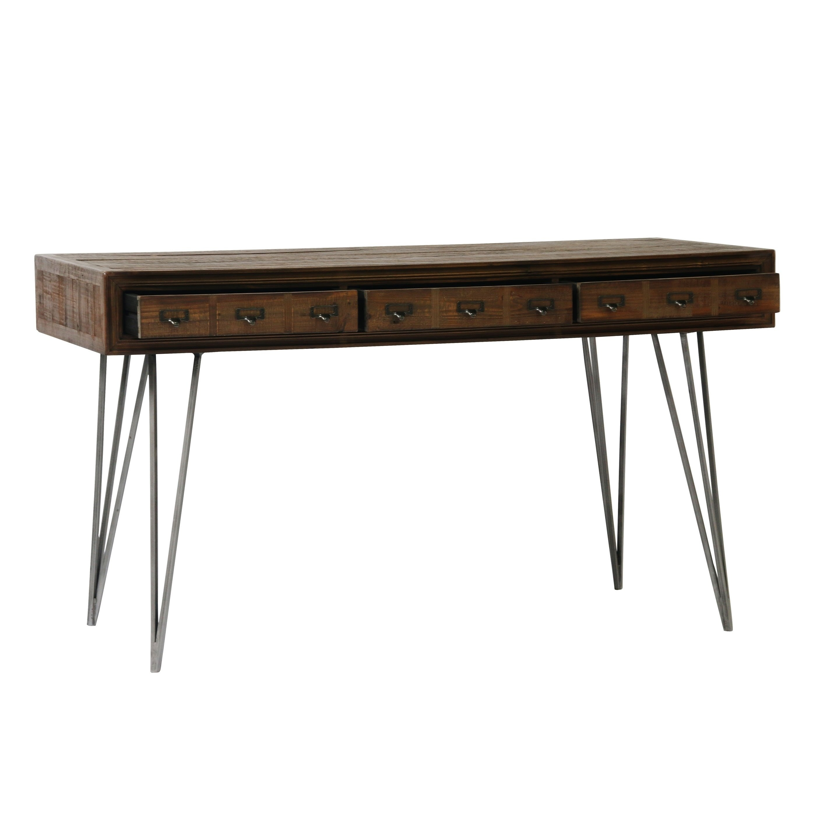 Aurelle Home Javadi Dark Brown Wood Desk - Free Shipping Today pertaining to Light Brown Reclaimed Elm & Pine 84 Inch Sideboards (Image 3 of 30)