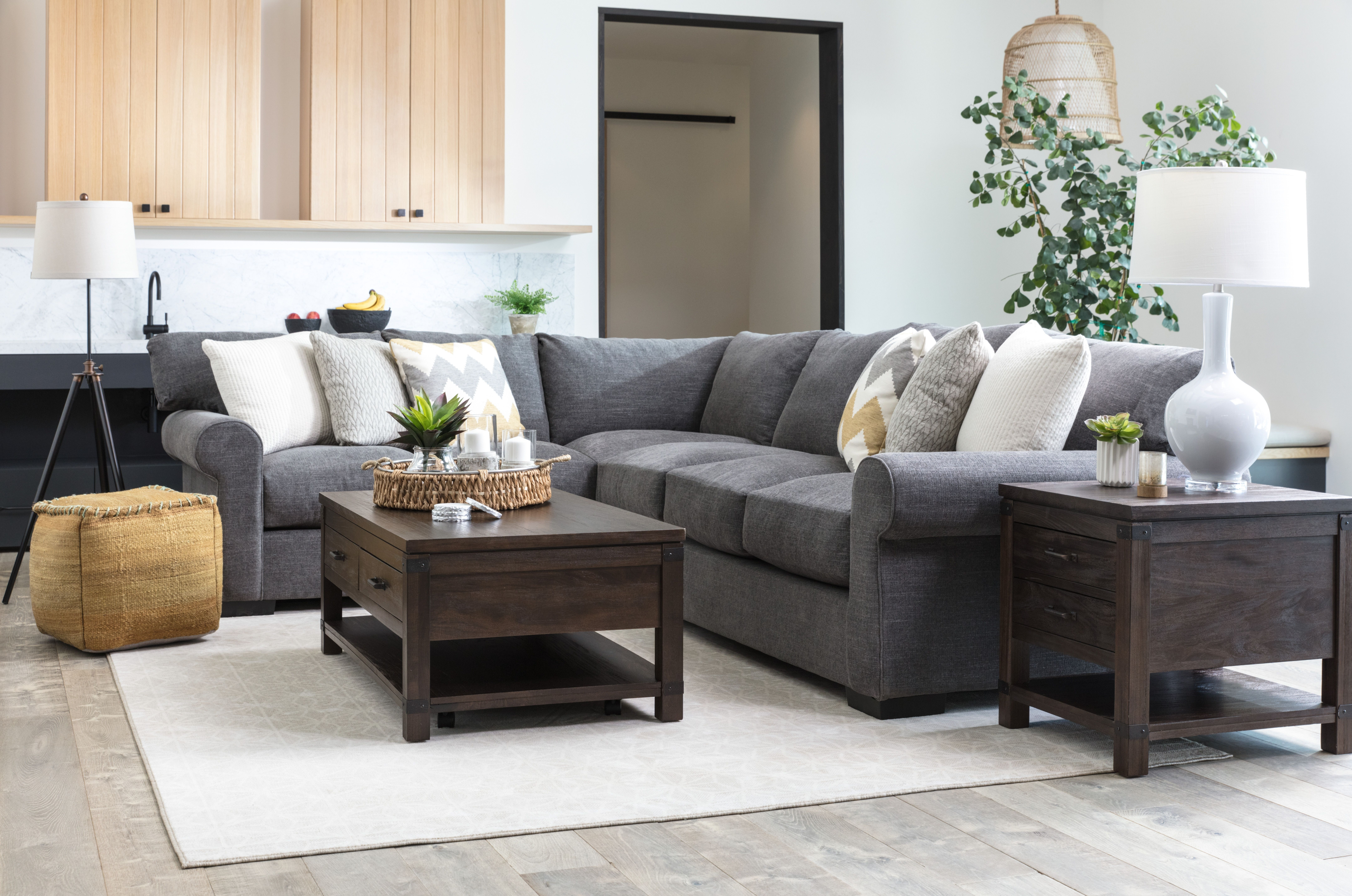 Aurora 2-Piece Sectional. The Casual Roll-Arm Frame Of This Grey throughout Aurora 2 Piece Sectionals (Image 6 of 30)