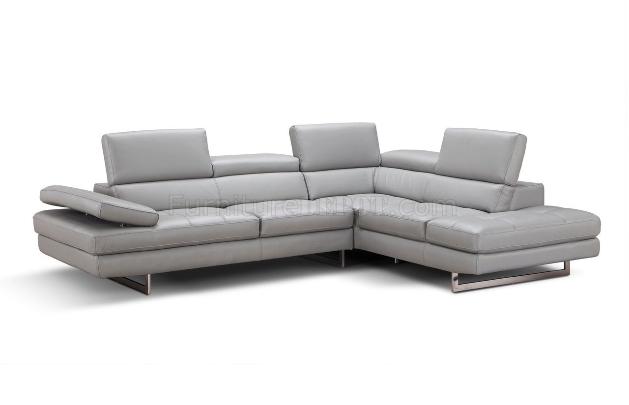 Aurora Sectional Sofa In Light Grey Premium Leatherj&m inside Aurora 2 Piece Sectionals (Image 9 of 30)
