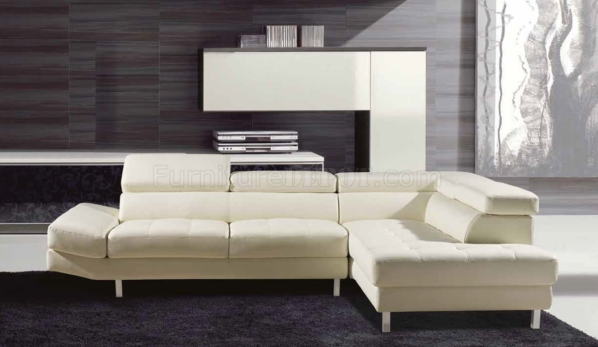 Aurora Sectional Sofa In White Leather Match regarding Aurora 2 Piece Sectionals (Image 10 of 30)
