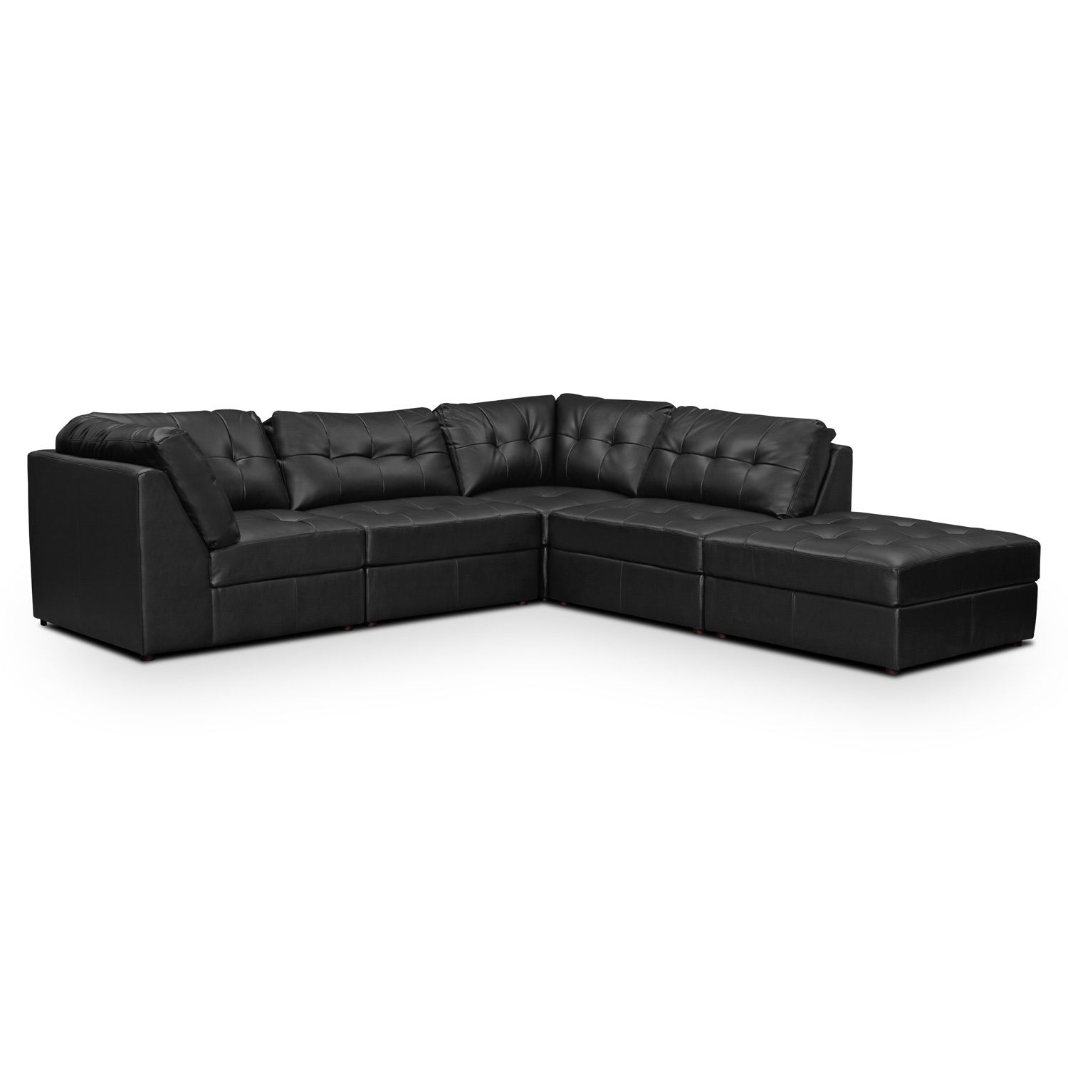 Aventura Leather 5 Pc. Sectional - Value City Furniture with Marcus Chocolate 6 Piece Sectionals With Power Headrest And Usb (Image 3 of 30)