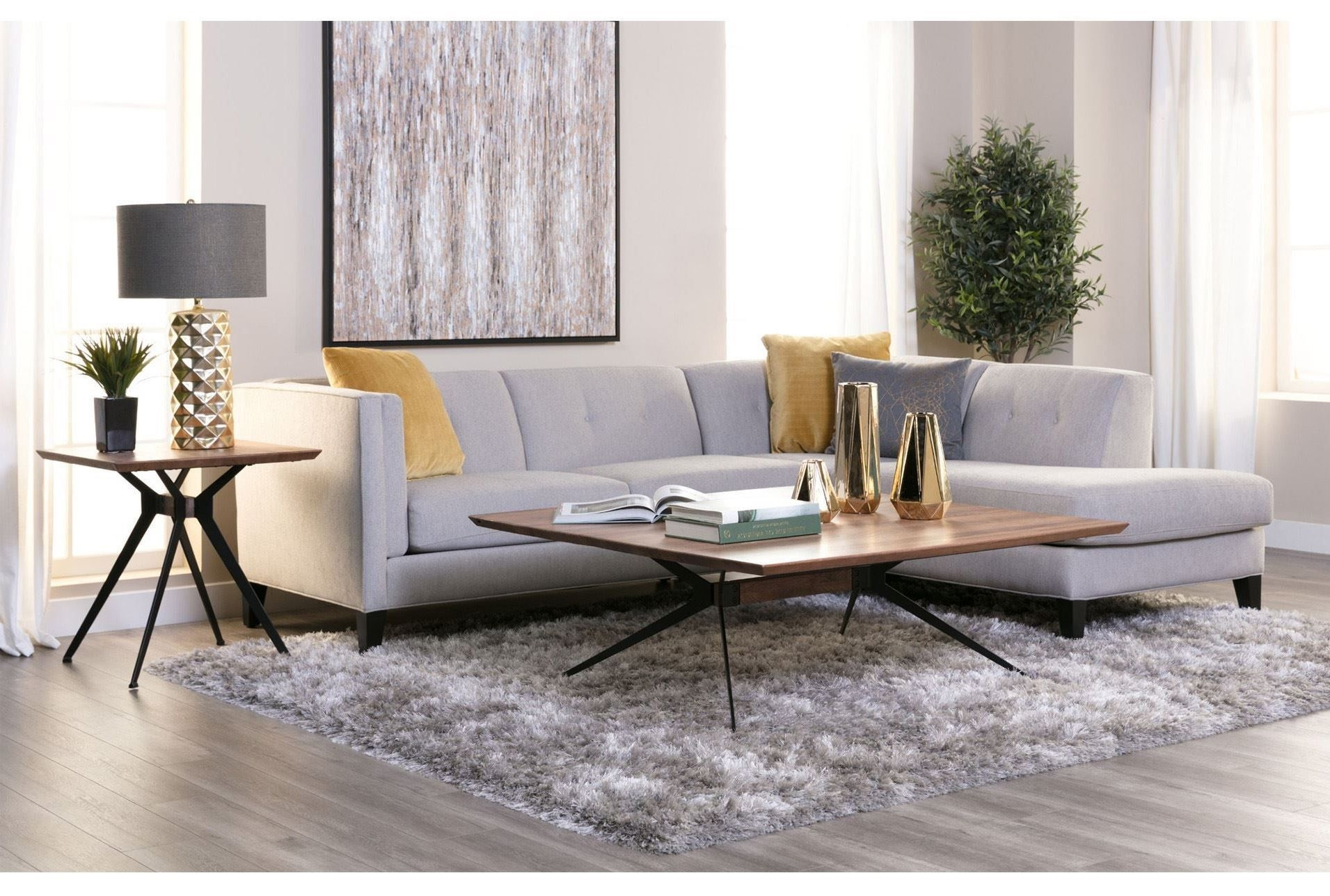 Avery 2 Piece Sectional W/raf Armless Chaise, Grey, Sofas | Mid for Aquarius Light Grey 2 Piece Sectionals With Laf Chaise (Image 10 of 30)