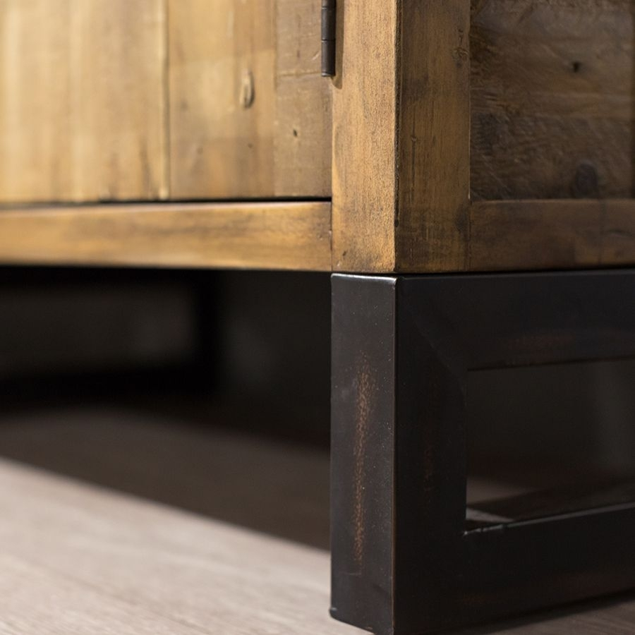 Baker Nixon Rustic Wide Sideboard within Corrugated Natural 6-Door Sideboards (Image 4 of 30)