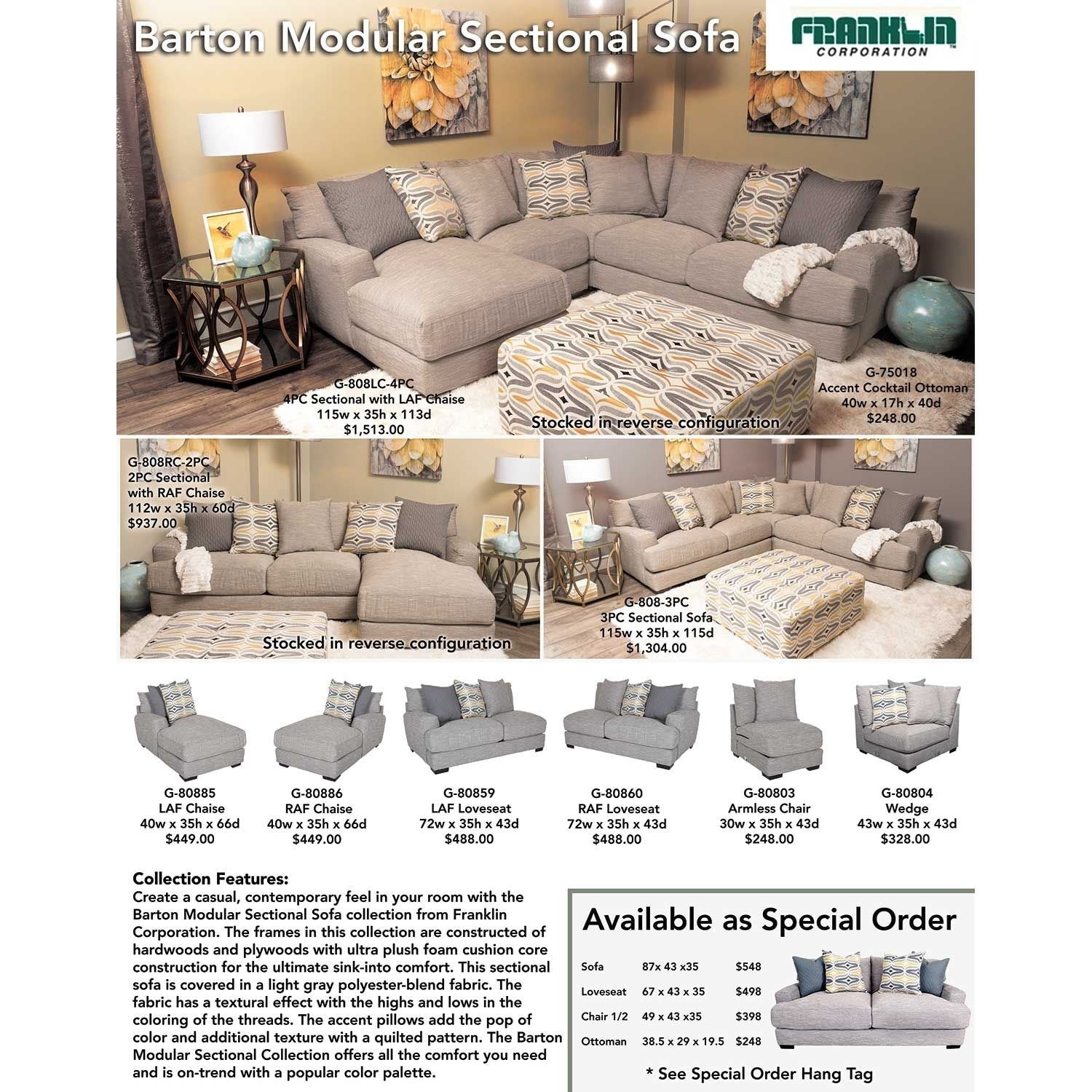 Barton 3Pc Sectional Sofa | G-808-3Pc | 80859 80860 80804 | Franklin throughout Burton Leather 3 Piece Sectionals With Ottoman (Image 1 of 30)