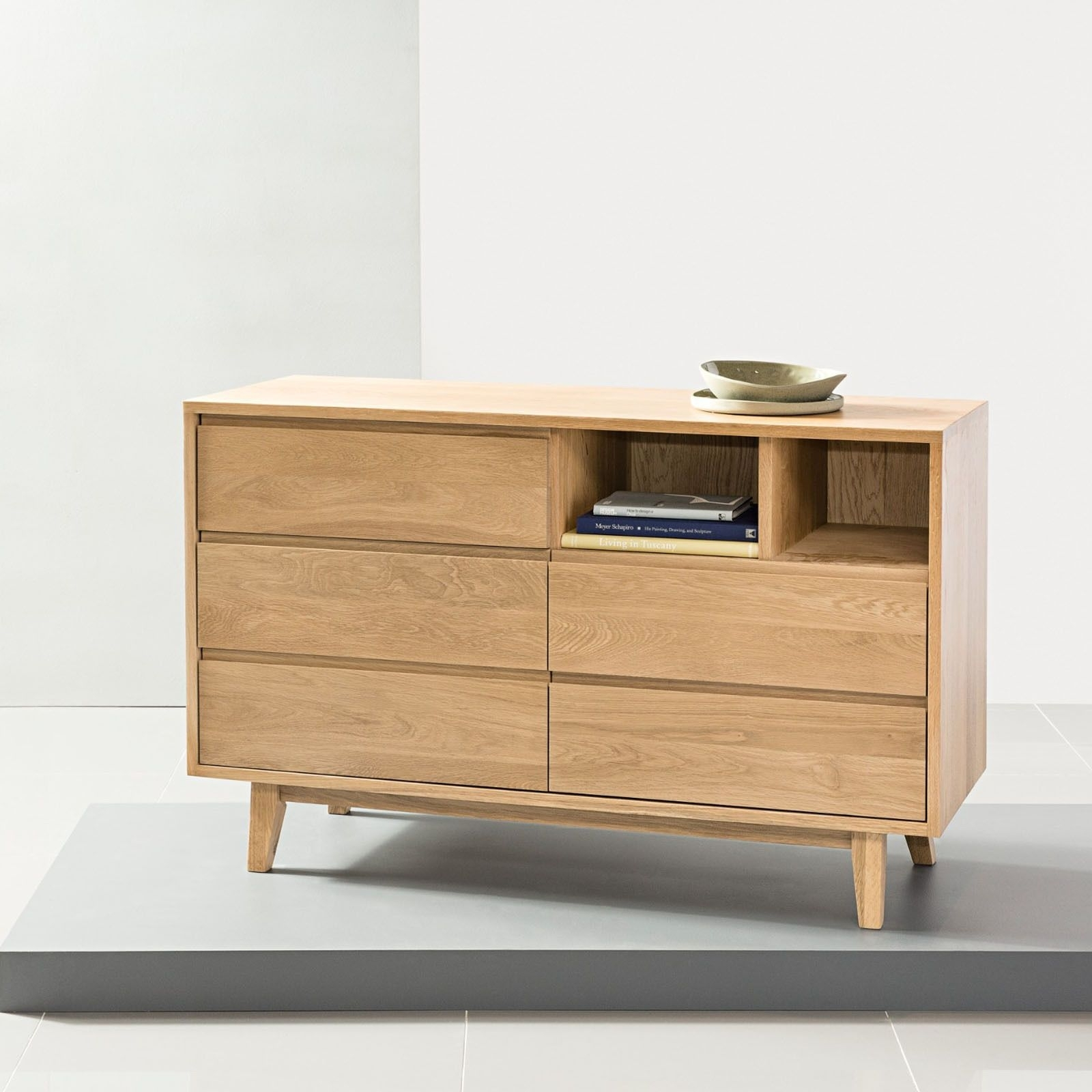 Bastian 5 Drawer Chest - Solid Oak - 120X45X76Cm - Icondesign intended for Tobias 4 Door Sideboards (Image 2 of 30)