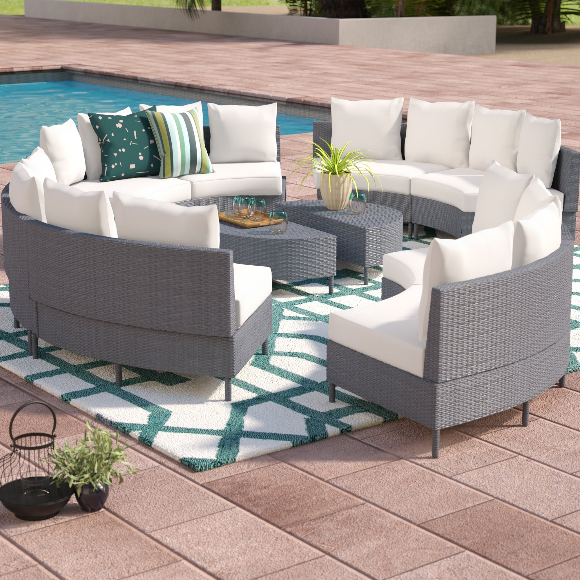 Beachcrest Home Sena 10 Piece Rattan Sectional Set With Cushions in Karen 3 Piece Sectionals (Image 3 of 30)