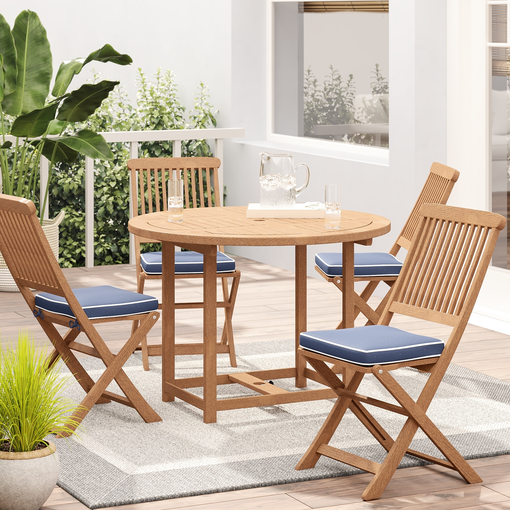 Beachcrest Home Wiscon Round Fold And Store 5 Piece Dining Set pertaining to Moraga Live Edge 8 Door Sideboards (Image 11 of 30)