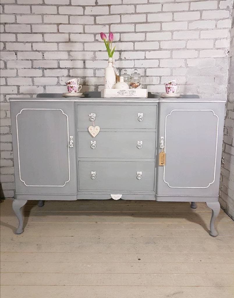 Beautiful Big Buffet Sideboard, Vintage 2 Door, 3 Drawer Dresser throughout Antique White Distressed 3-Drawer/2-Door Sideboards (Image 6 of 30)