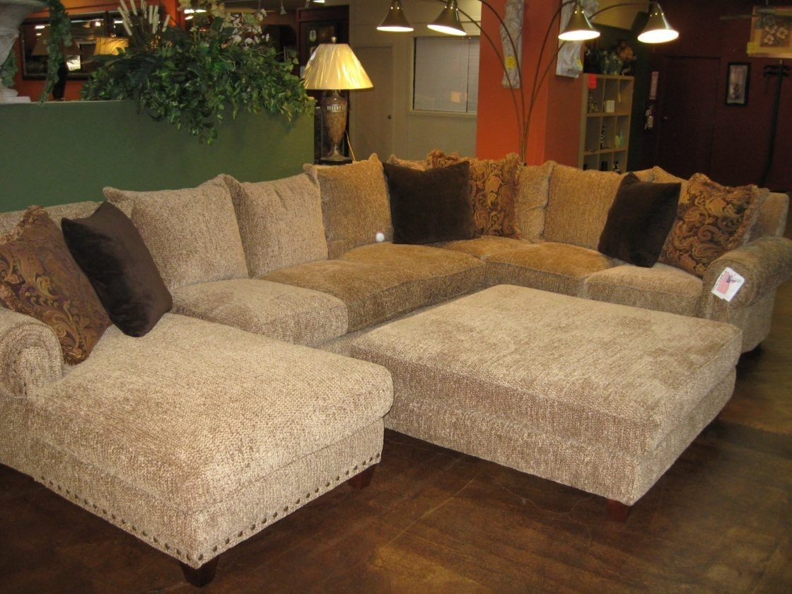 Beautiful Chic Beige Microfiber U Shaped Sectional Couch Living Room within Norfolk Chocolate 3 Piece Sectionals With Raf Chaise (Image 2 of 30)