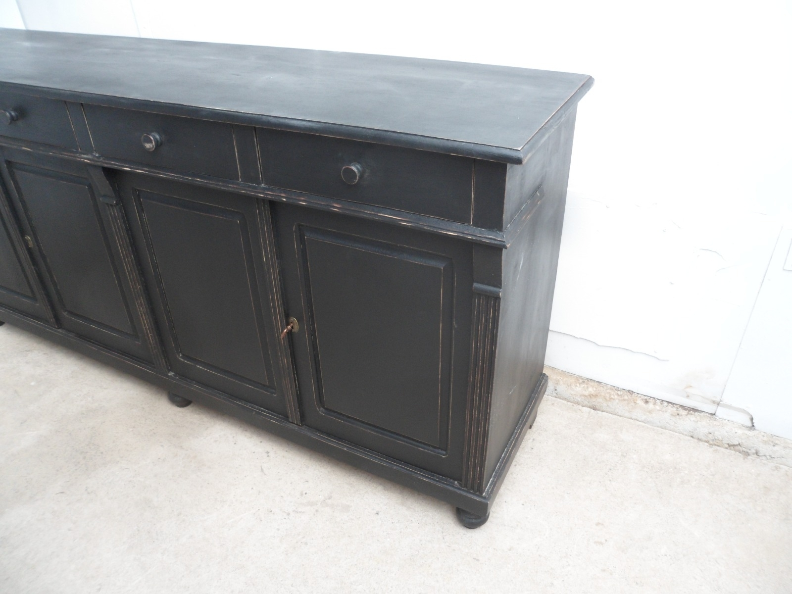 Beautifully Painted Black Pine 4 Door Kitchen Dresser Base Sideboard pertaining to Iron Pine Sideboards (Image 4 of 30)