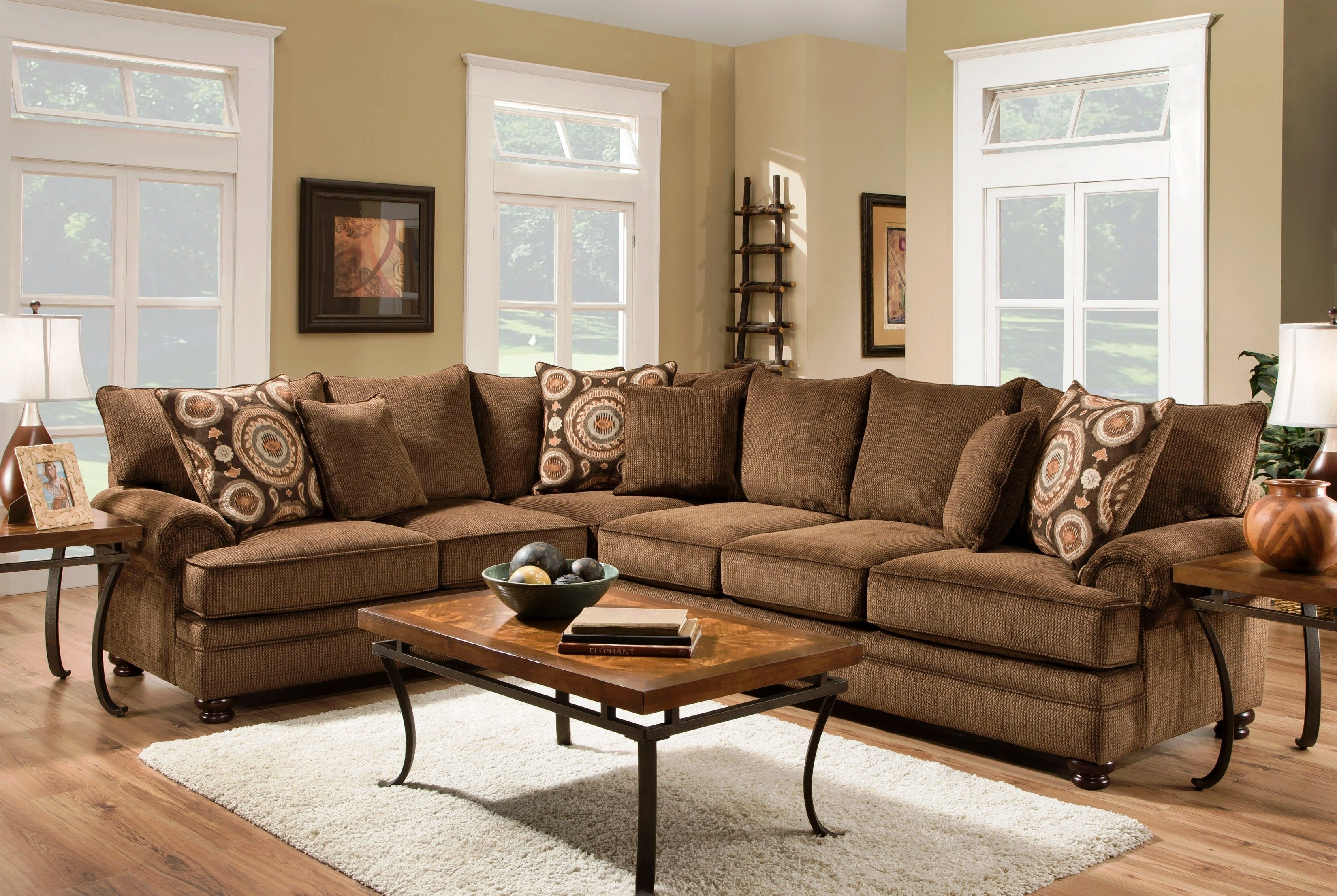 Beige Couch Pillows Luxury Ria Twill Chocolate 2 Piece Sectional within Mesa Foam 2 Piece Sectionals (Image 3 of 30)