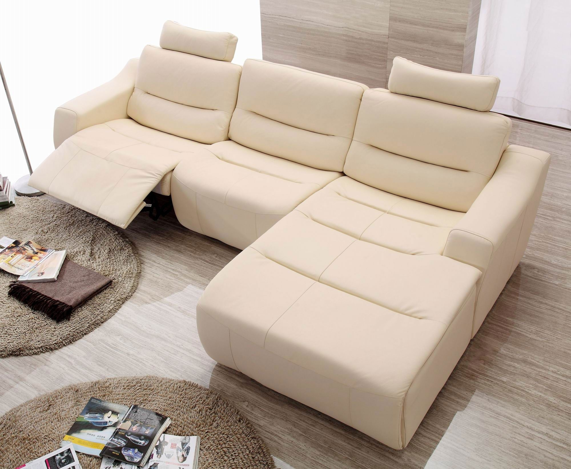 Beige Leather Reclining Sofa | Baci Living Room in Clyde Saddle 3 Piece Power Reclining Sectionals With Power Headrest & Usb (Image 6 of 30)