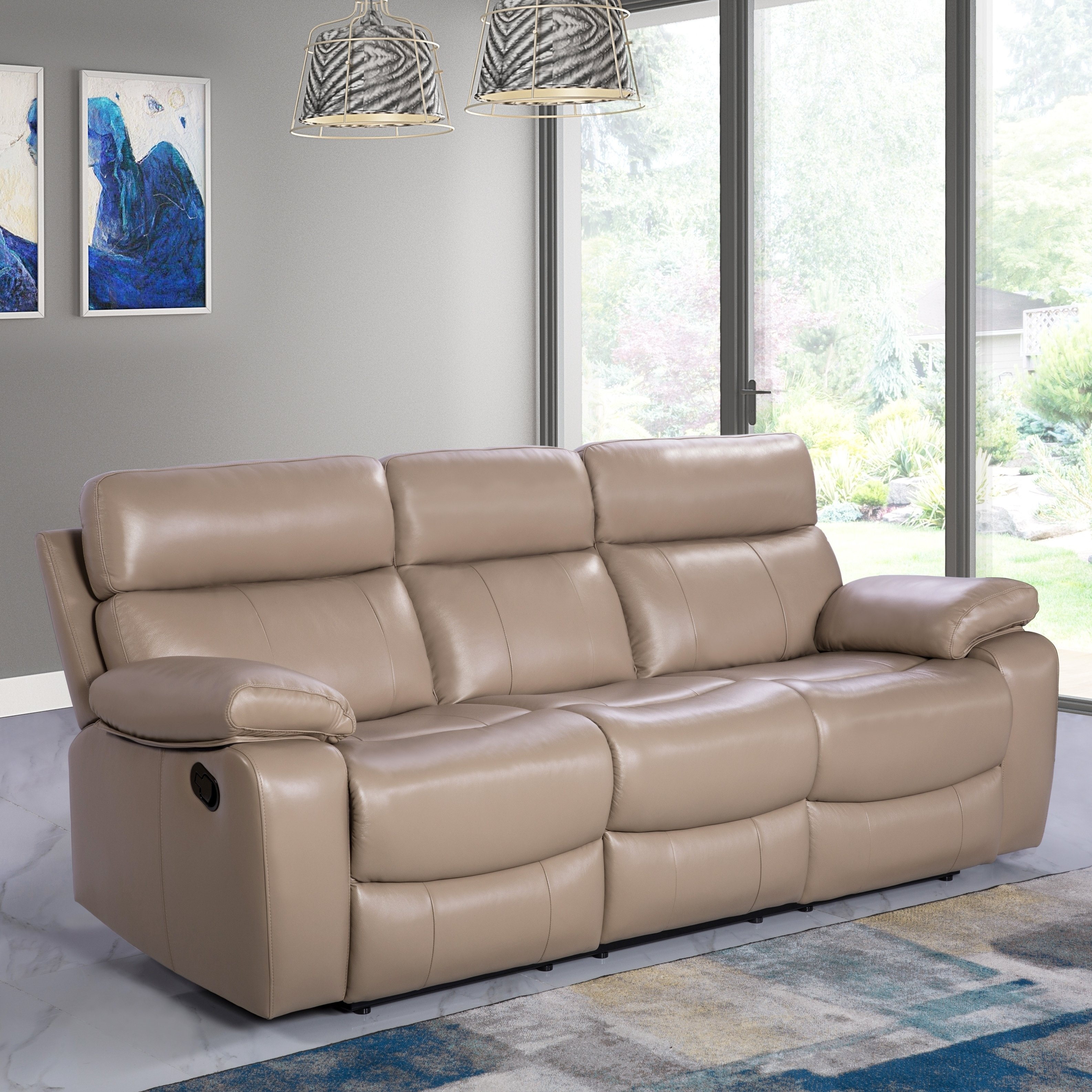 Beige Leather Reclining Sofa | Baci Living Room with Clyde Saddle 3 Piece Power Reclining Sectionals With Power Headrest & Usb (Image 7 of 30)