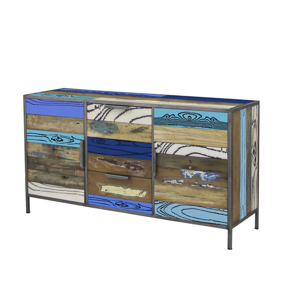 Belfast Reclaimed Living Room Furniture Evo Blue 2 Door Sideboard inside Reclaimed 3 Drawer Icebox Sideboards (Image 1 of 30)