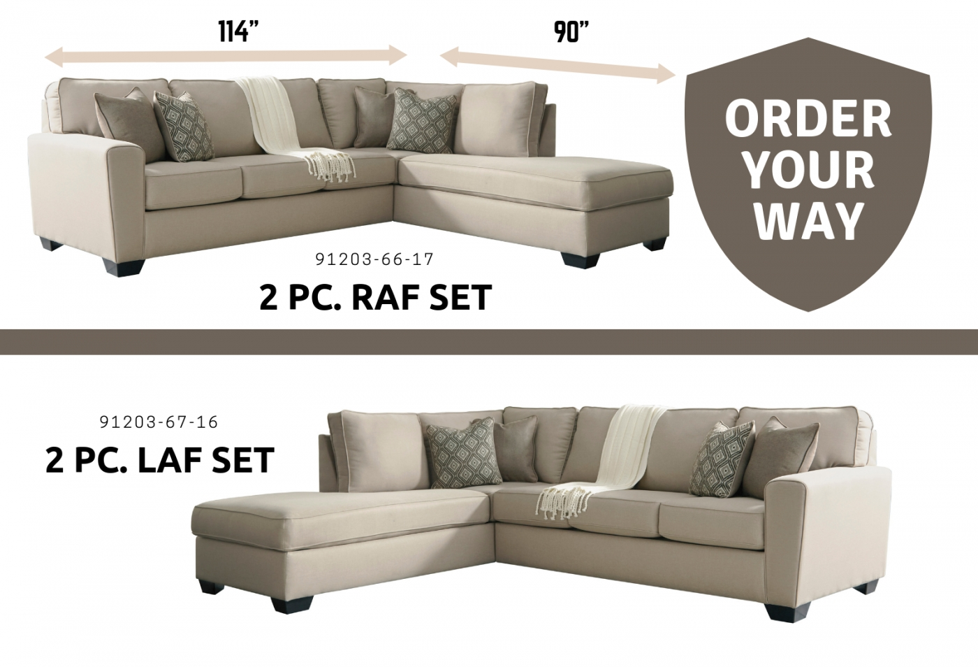 Benchcraft Calicho 2 Pc Sectional Laf Sofa And Raf Corner Chaise with Mcdade Graphite 2 Piece Sectionals With Raf Chaise (Image 3 of 30)