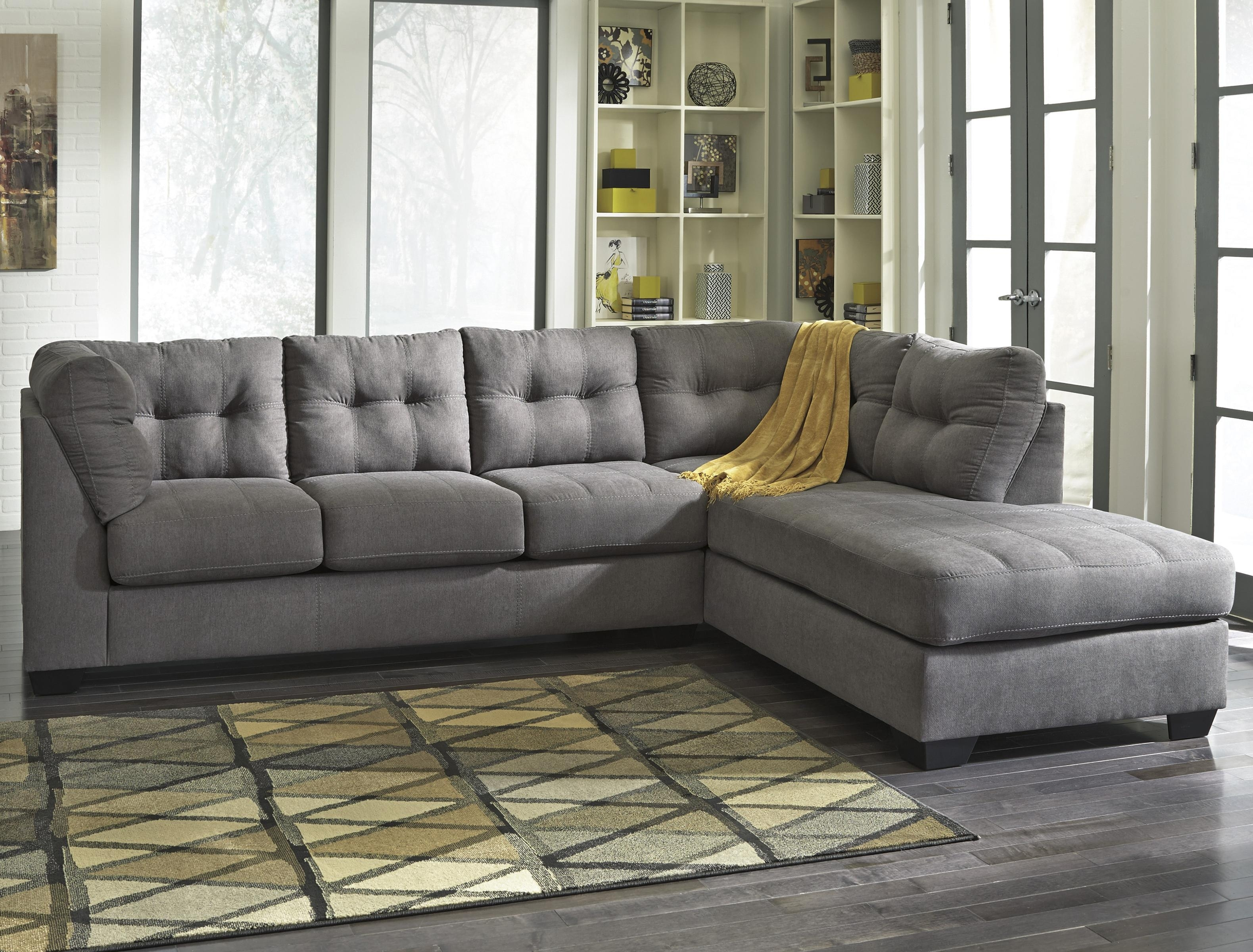 Benchcraft Maier - Charcoal 2-Piece Sectional With Right Chaise within Sierra Foam Ii 3 Piece Sectionals (Image 6 of 30)