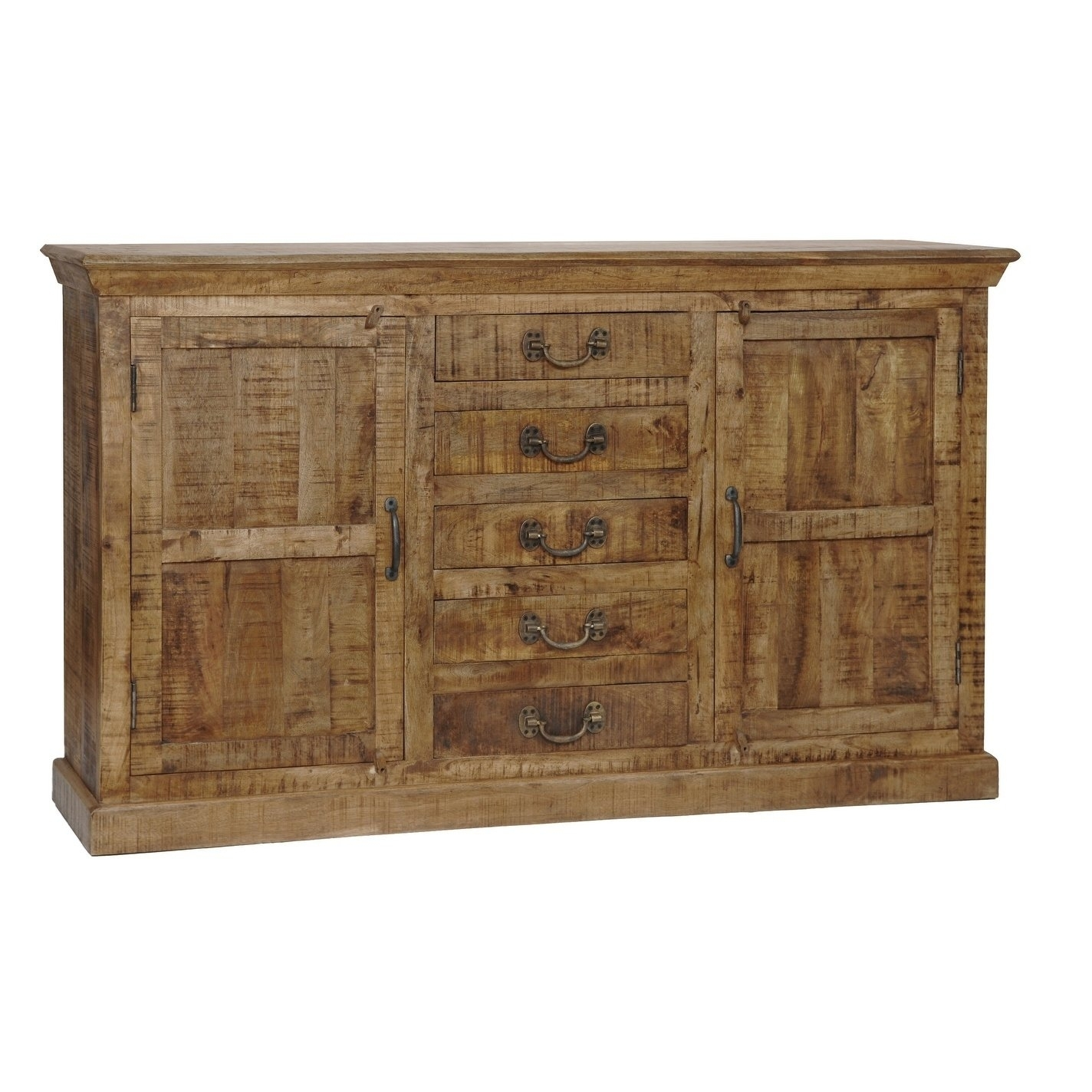 Bengal Manor Natural Mango Wood 5-Drawer 2-Door Sideboard - Free intended for Mango Wood 2-Door/2-Drawer Sideboards (Image 5 of 30)