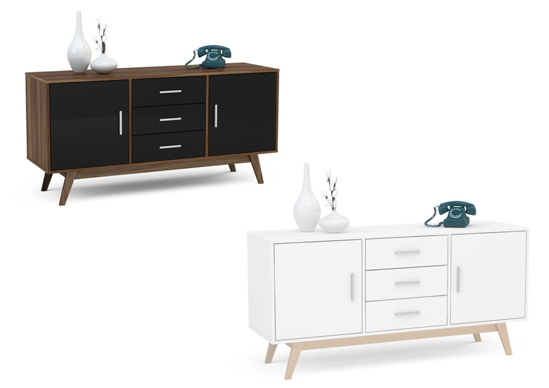 Birlea Shard Gloss Sideboards - 2 Door 3 Drawer - Wooden Legs intended for 2-Drawer Sideboards (Image 4 of 30)