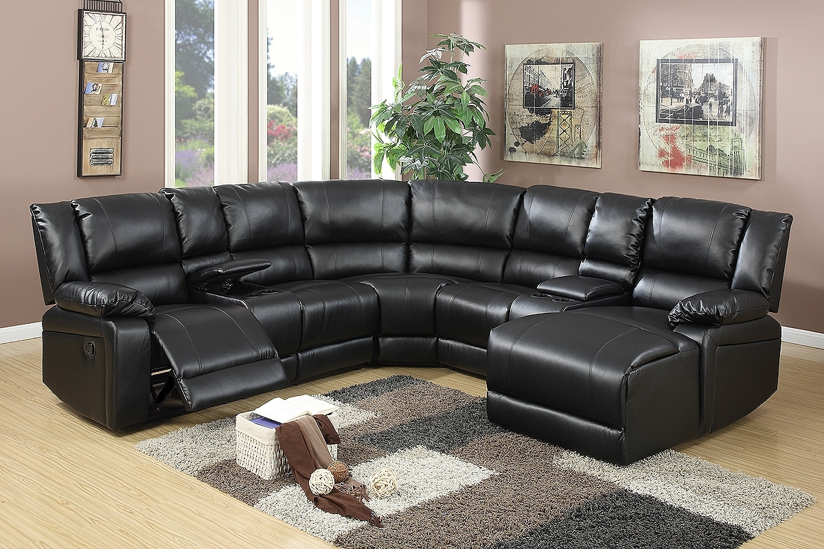 Black Bonded Leather Motion Sectional Chaise - Jendiz Furniture throughout Avery 2 Piece Sectionals With Raf Armless Chaise (Image 8 of 30)