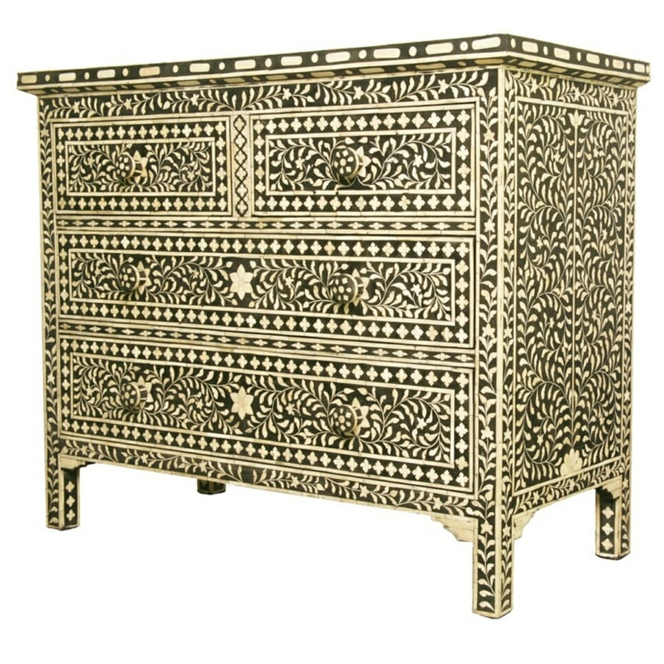 Black Bone Inlay Chest Of Drawers | Iris Furnishing in Geo Pattern Black And White Bone Inlay Sideboards (Image 1 of 30)