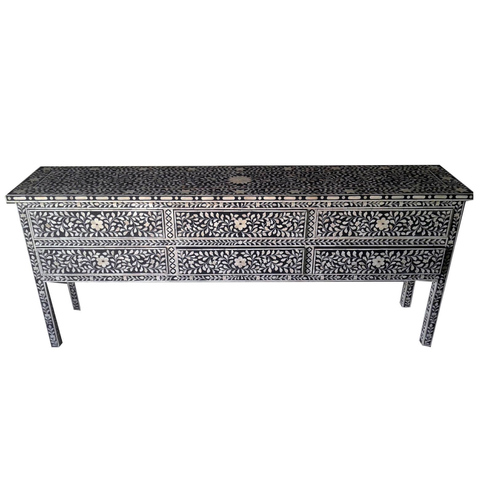 Black Bone Inlay Large Sideboard | Iris Furnishing regarding Geo Pattern Black and White Bone Inlay Sideboards (Image 3 of 30)