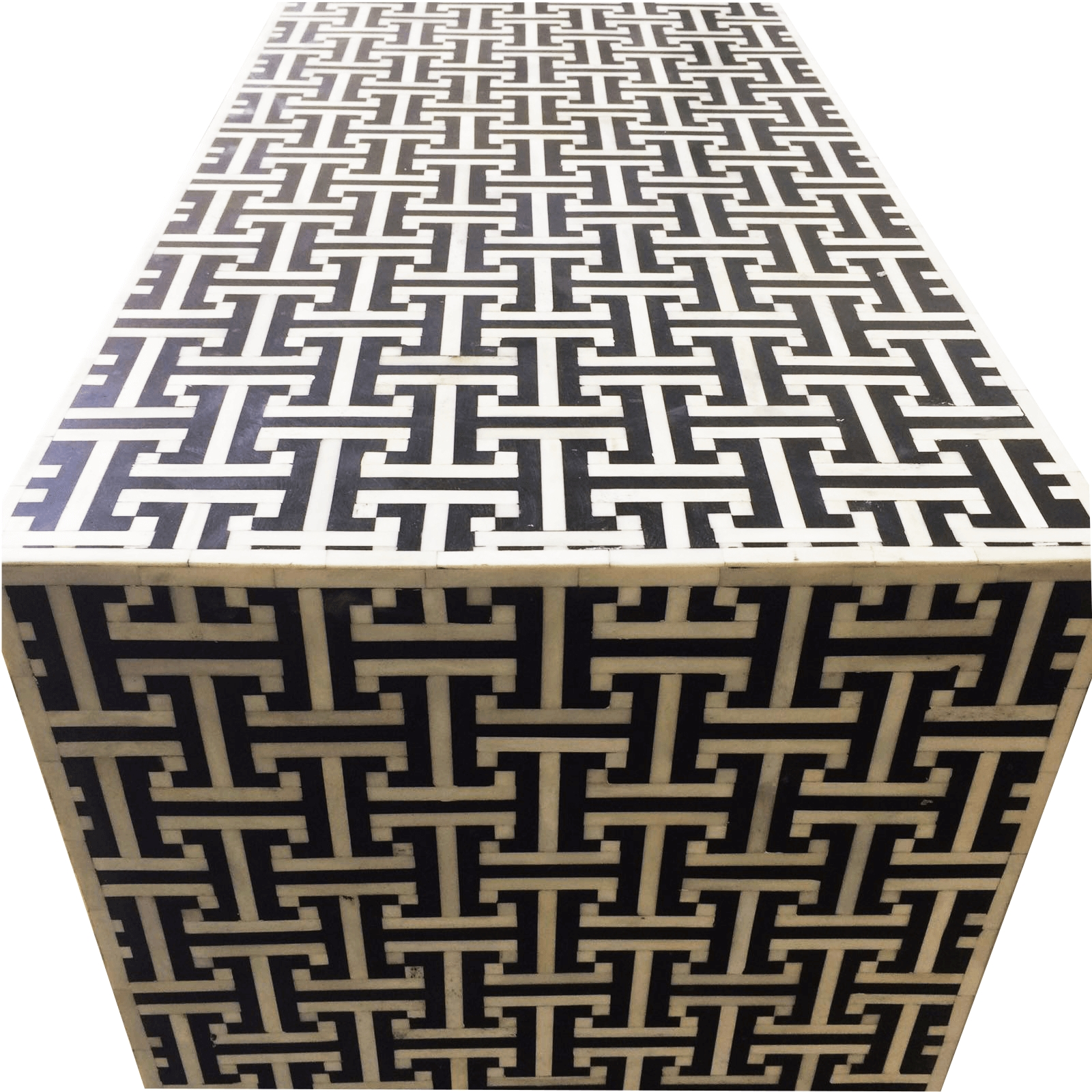 Black Bone Tetris Sideboard | Iris Furnishing regarding Geo Pattern Black And White Bone Inlay Sideboards (Image 5 of 30)