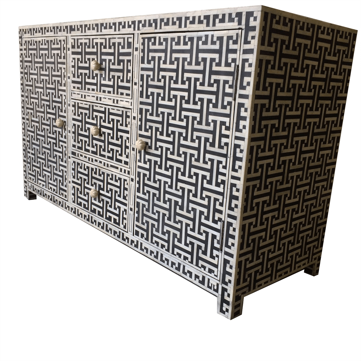 Black Bone Tetris Sideboard | Iris Furnishing within Geo Pattern Black And White Bone Inlay Sideboards (Image 6 of 30)