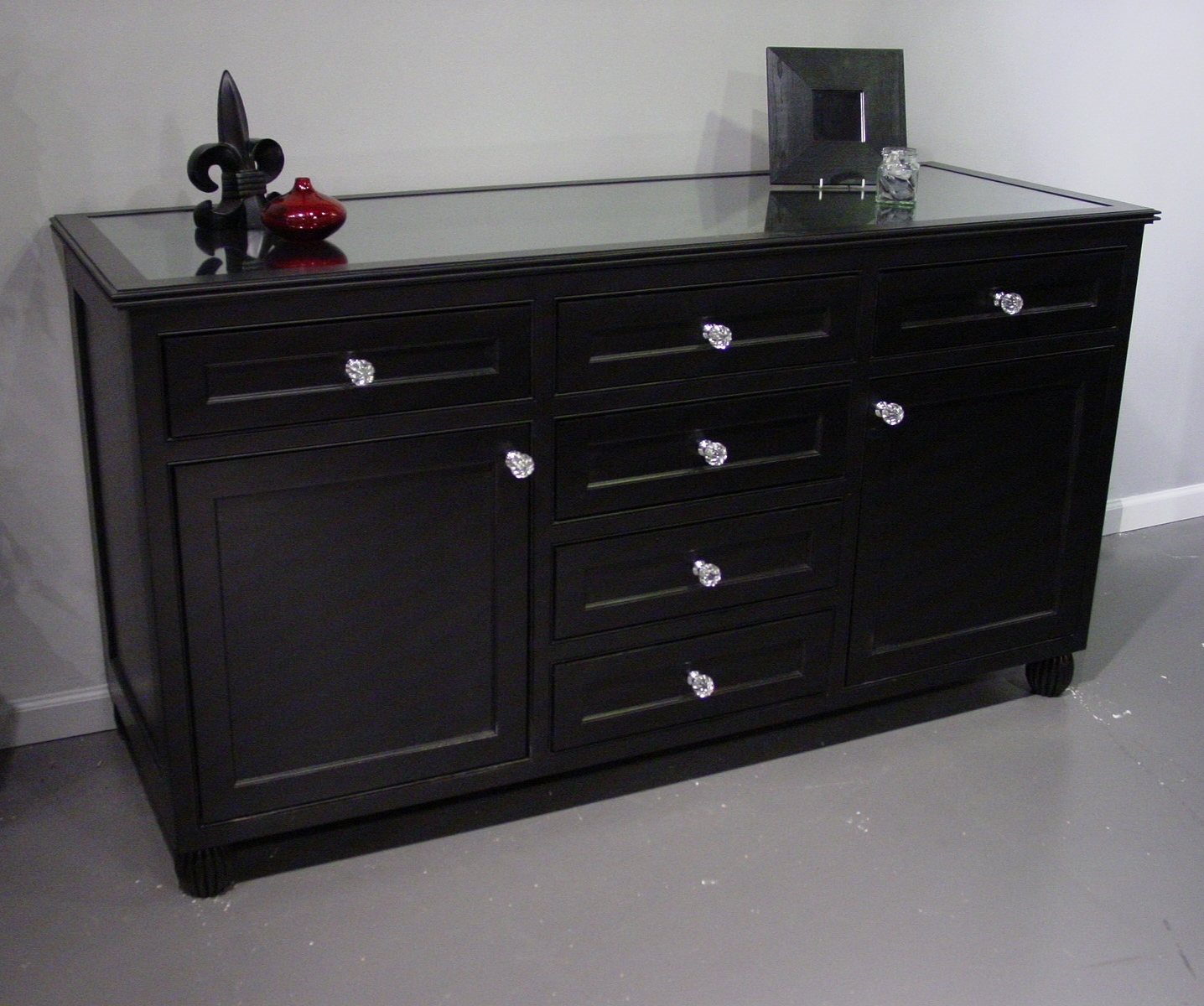 Black Painted Dresser With Glass Top with Satin Black & Painted White Sideboards (Image 3 of 30)
