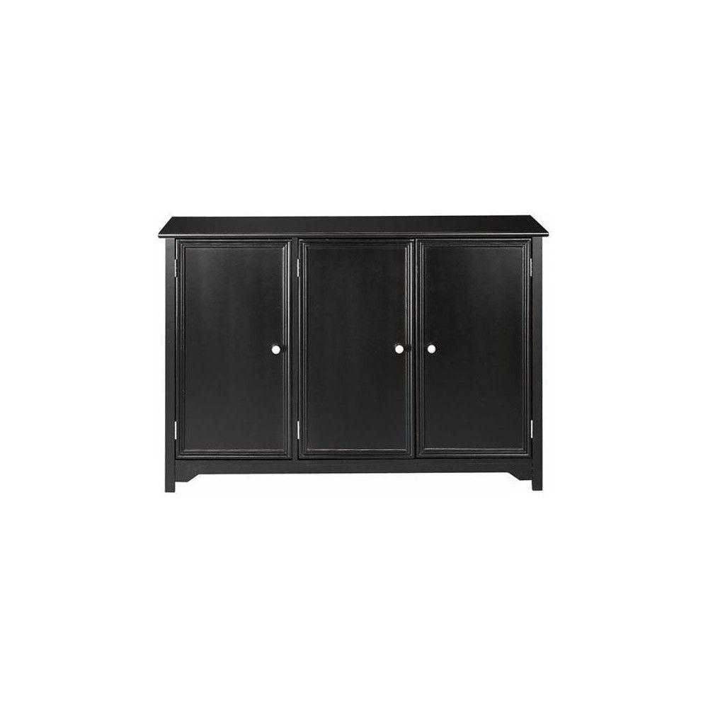 Black - Sideboards & Buffets - Kitchen & Dining Room Furniture - The in Black Oak Wood and Wrought Iron Sideboards (Image 4 of 30)