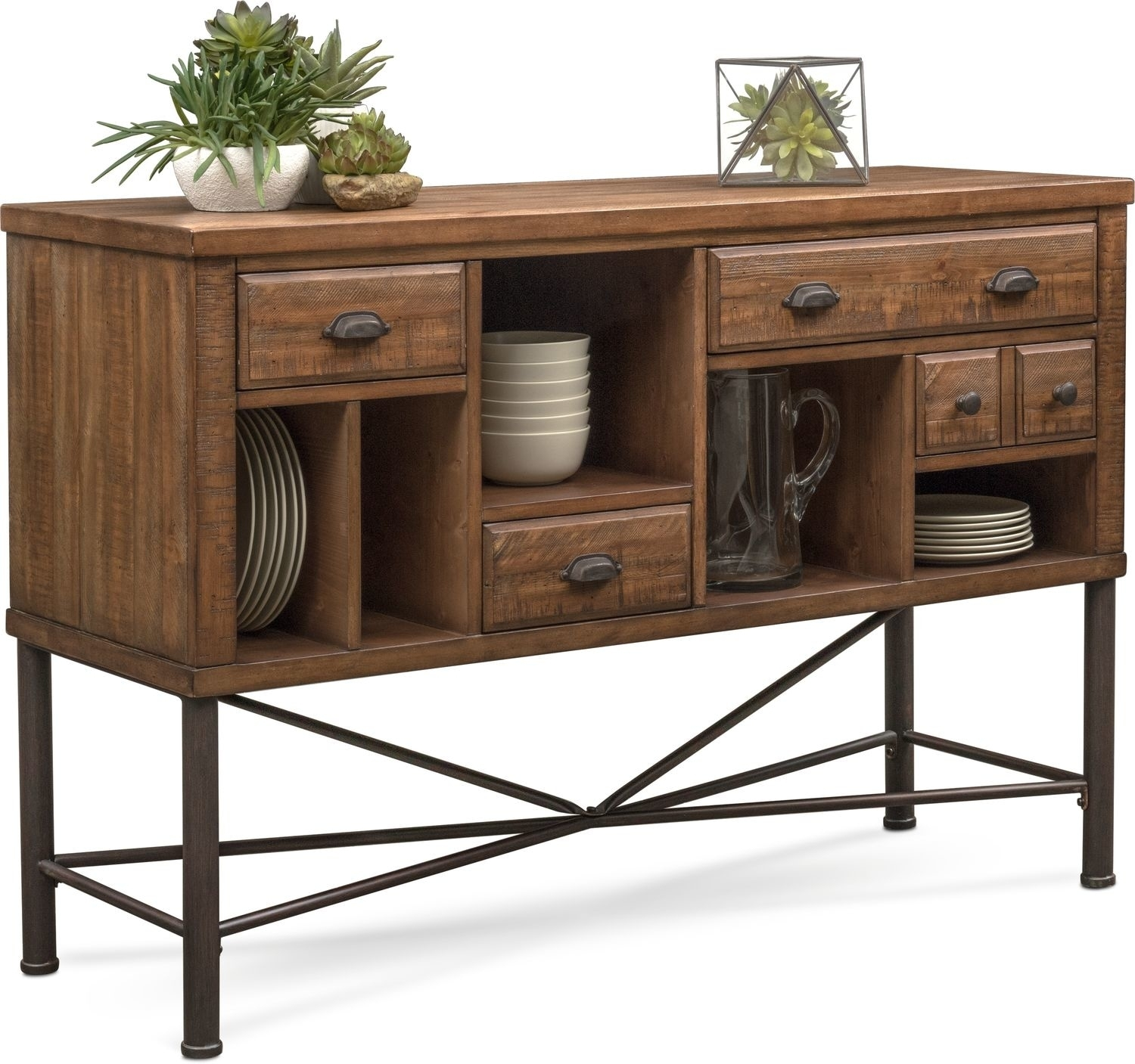 Bodhi Sideboard - Rustic Pine | American Signature Furniture with regard to Iron Pine Sideboards (Image 7 of 30)