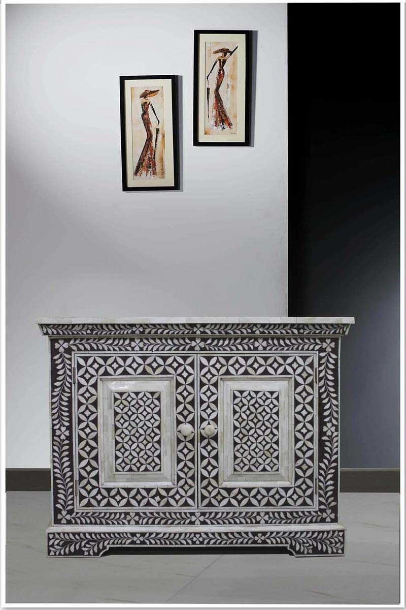30 Ideas Of Geo Pattern Black And White Bone Inlay Sideboards