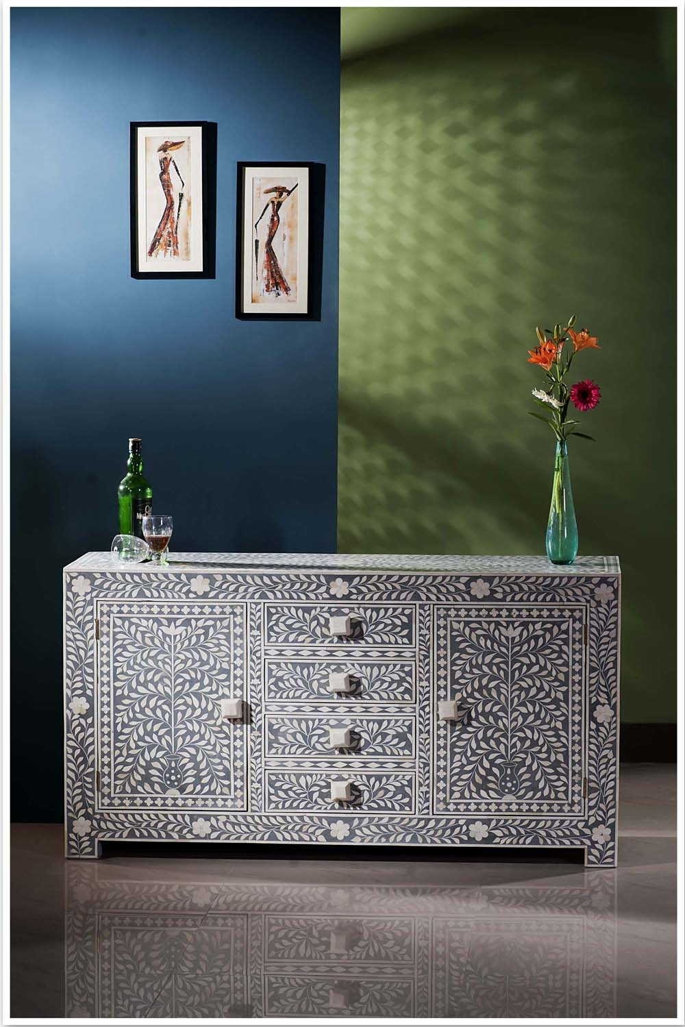 Bone Inlay Furniture Stores In Melbourne, Sydney, Australia, Brisbane intended for Geo Pattern Black And White Bone Inlay Sideboards (Image 11 of 30)